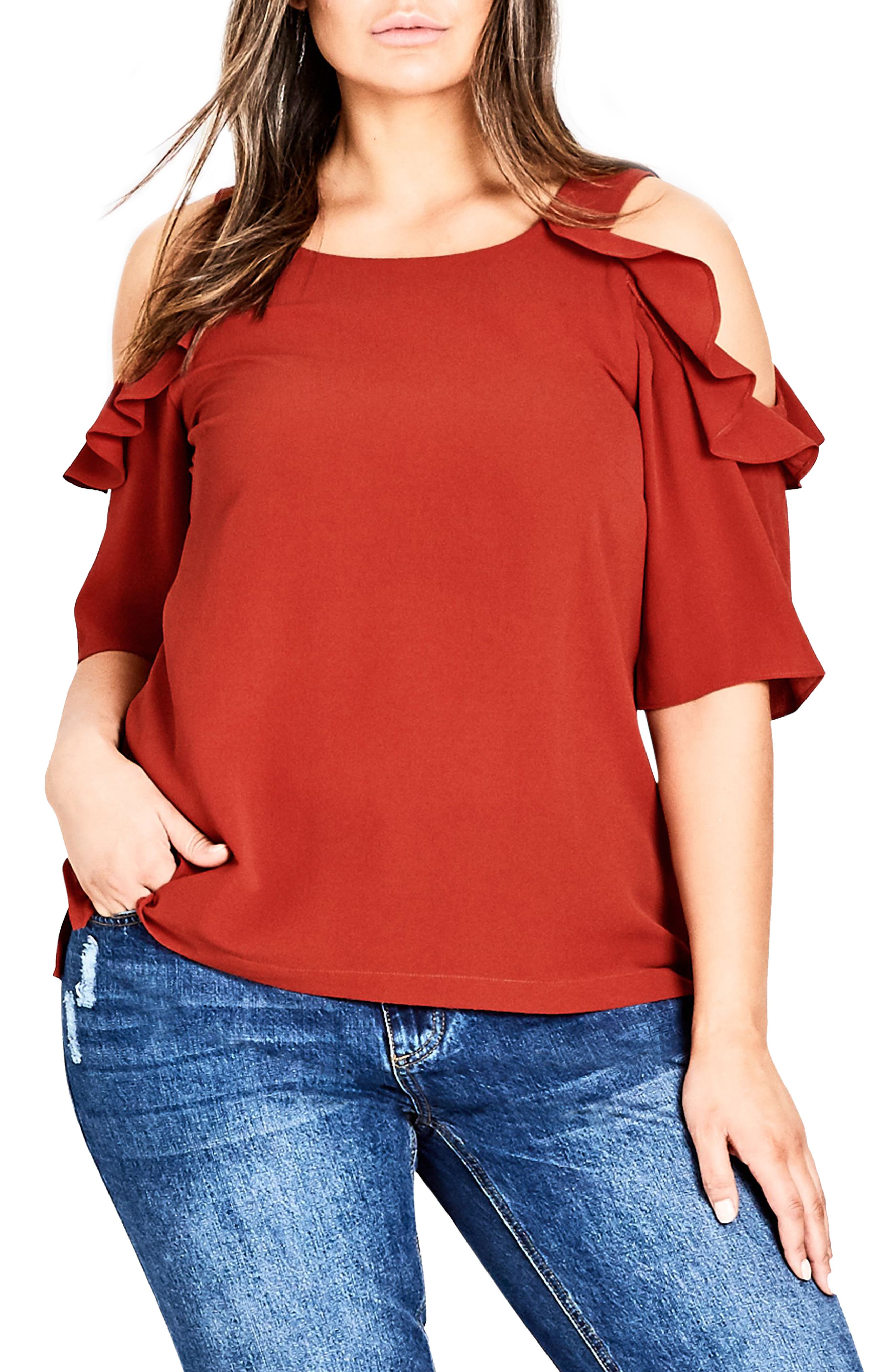 Wild Sleeve Cold Shoulder Top,                         Main,                         color, Rust