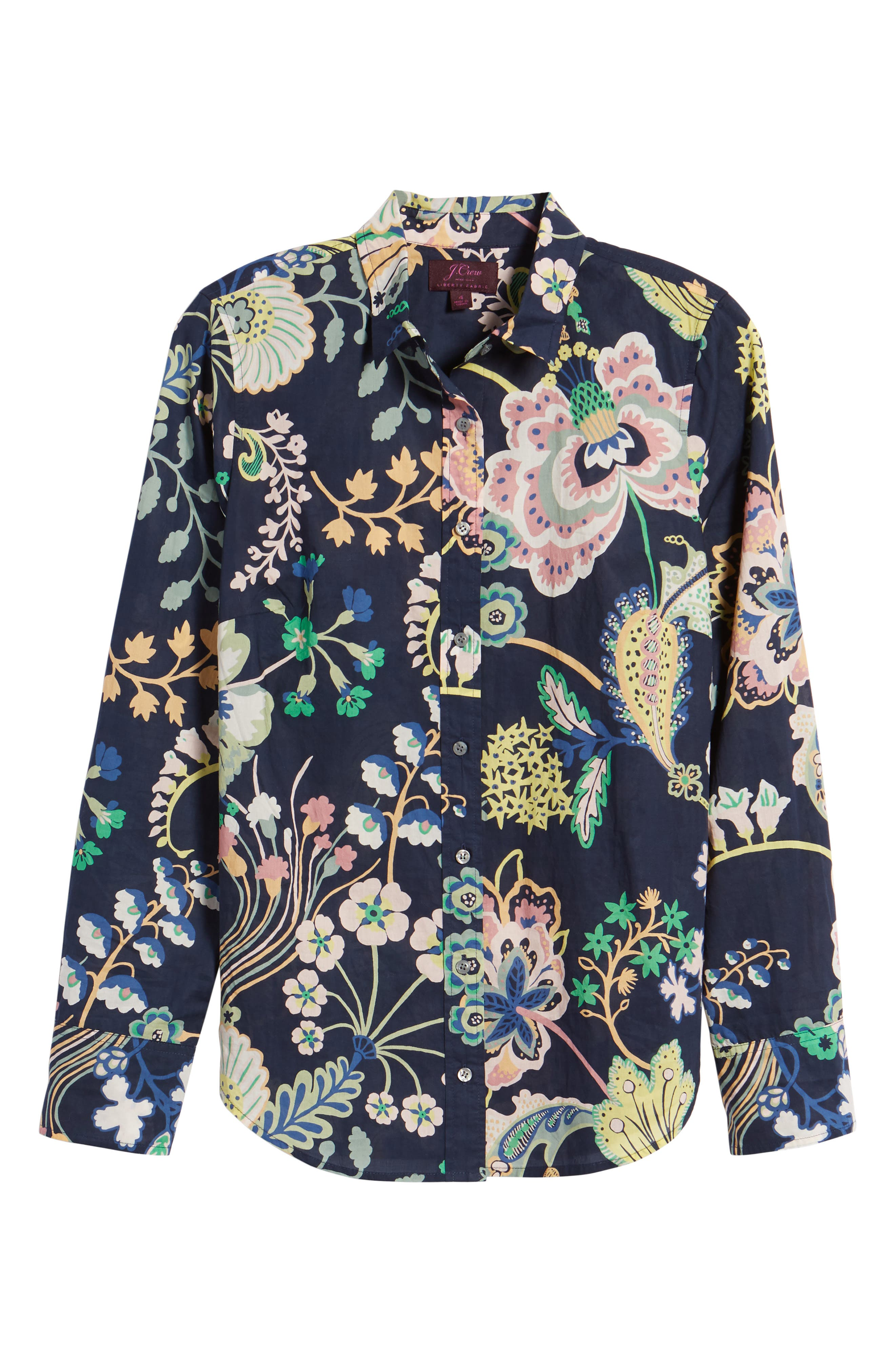 Perfect Liberty<sup>®</sup> Tana Lawn Shirt,                             Alternate thumbnail 7, color,                             Navy Multi