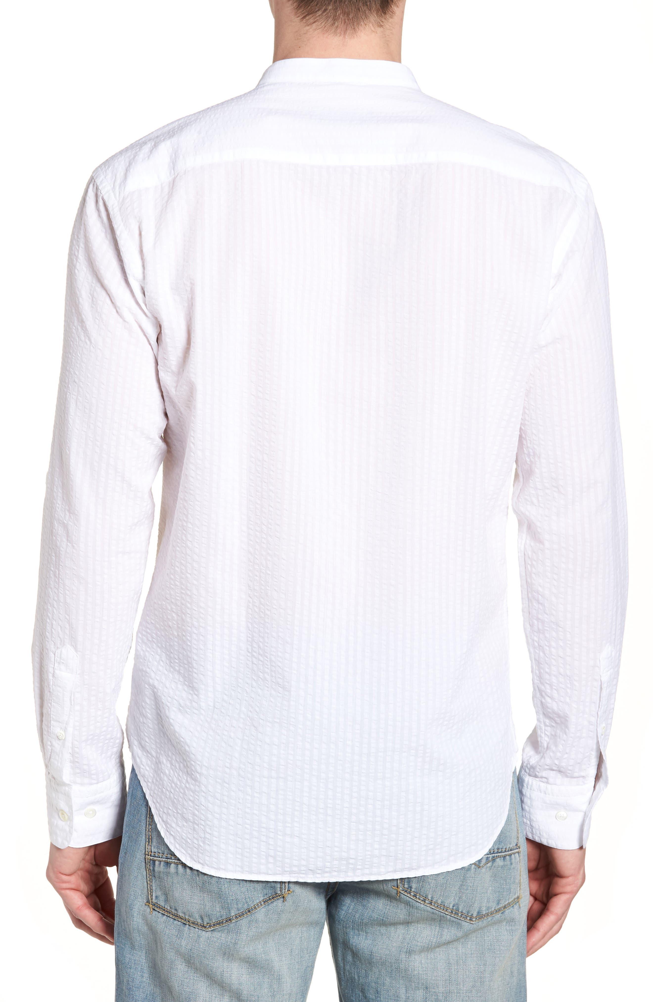 Shaped Fit Band Collar Seersucker Sport Shirt,                             Alternate thumbnail 2, color,                             White