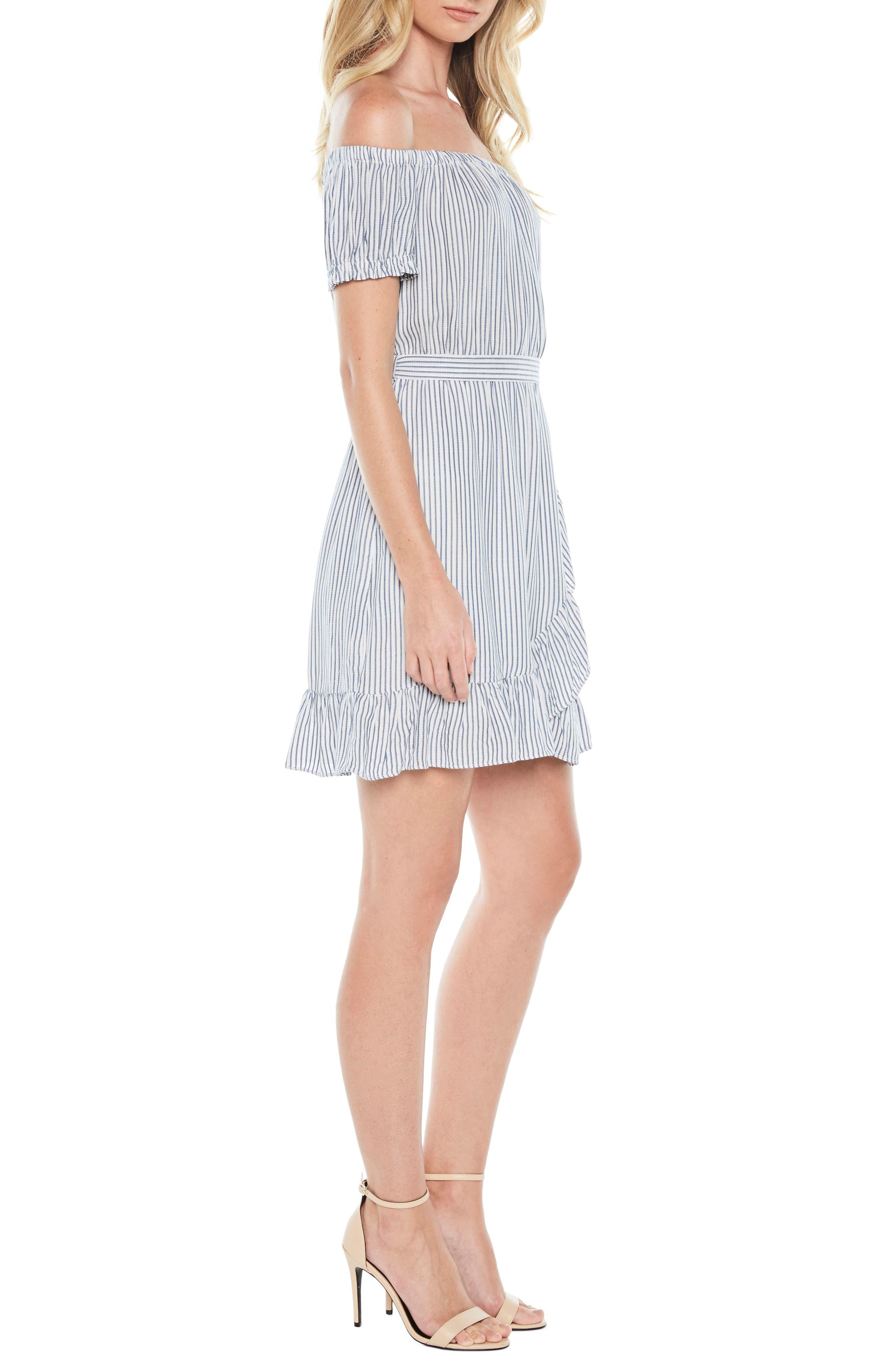 Bobbi Off the Shoulder Stripe Dress,                             Alternate thumbnail 3, color,                             Blue/ White