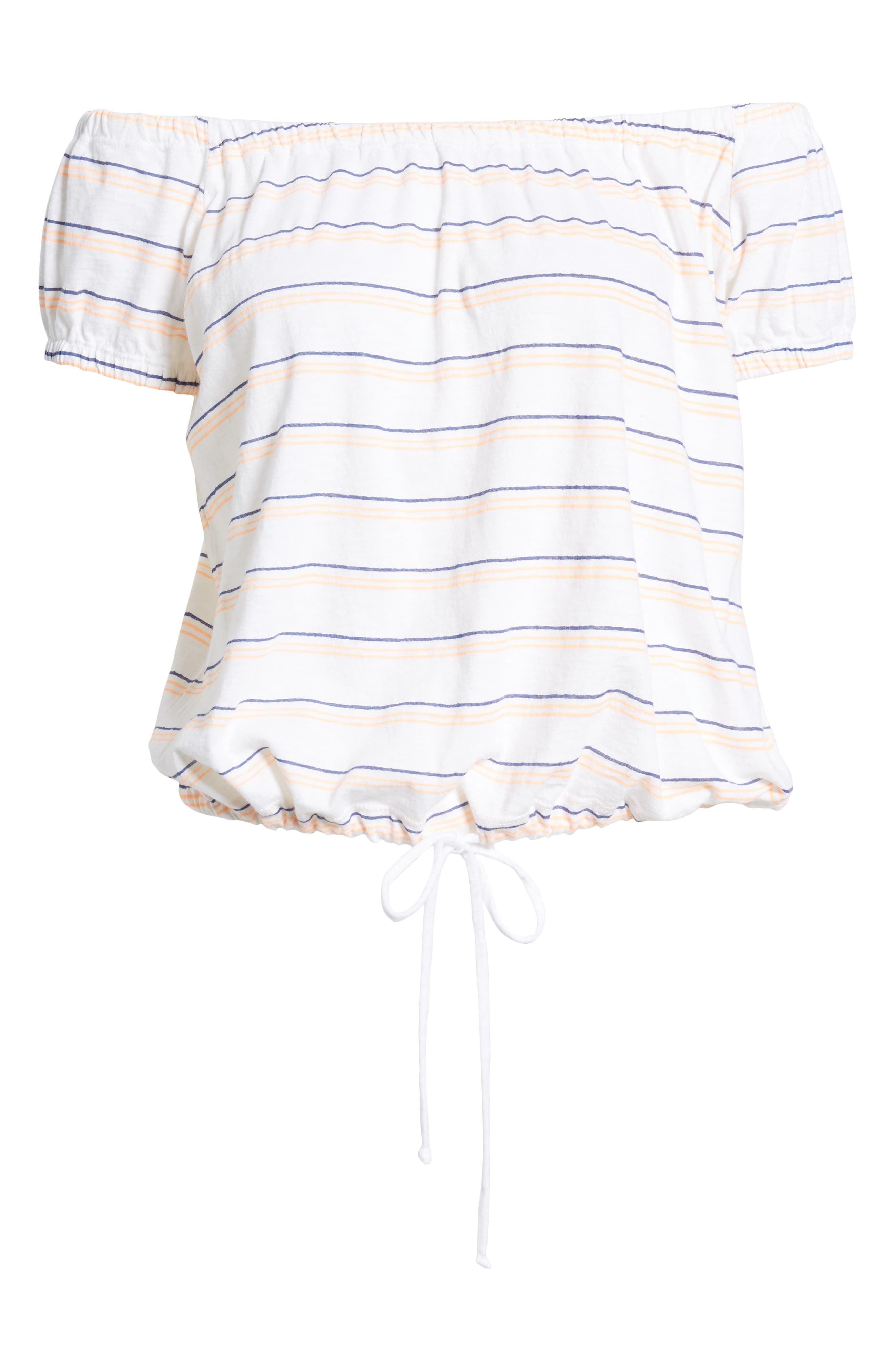 Stripe Off the Shoulder Tee,                             Alternate thumbnail 7, color,                             White