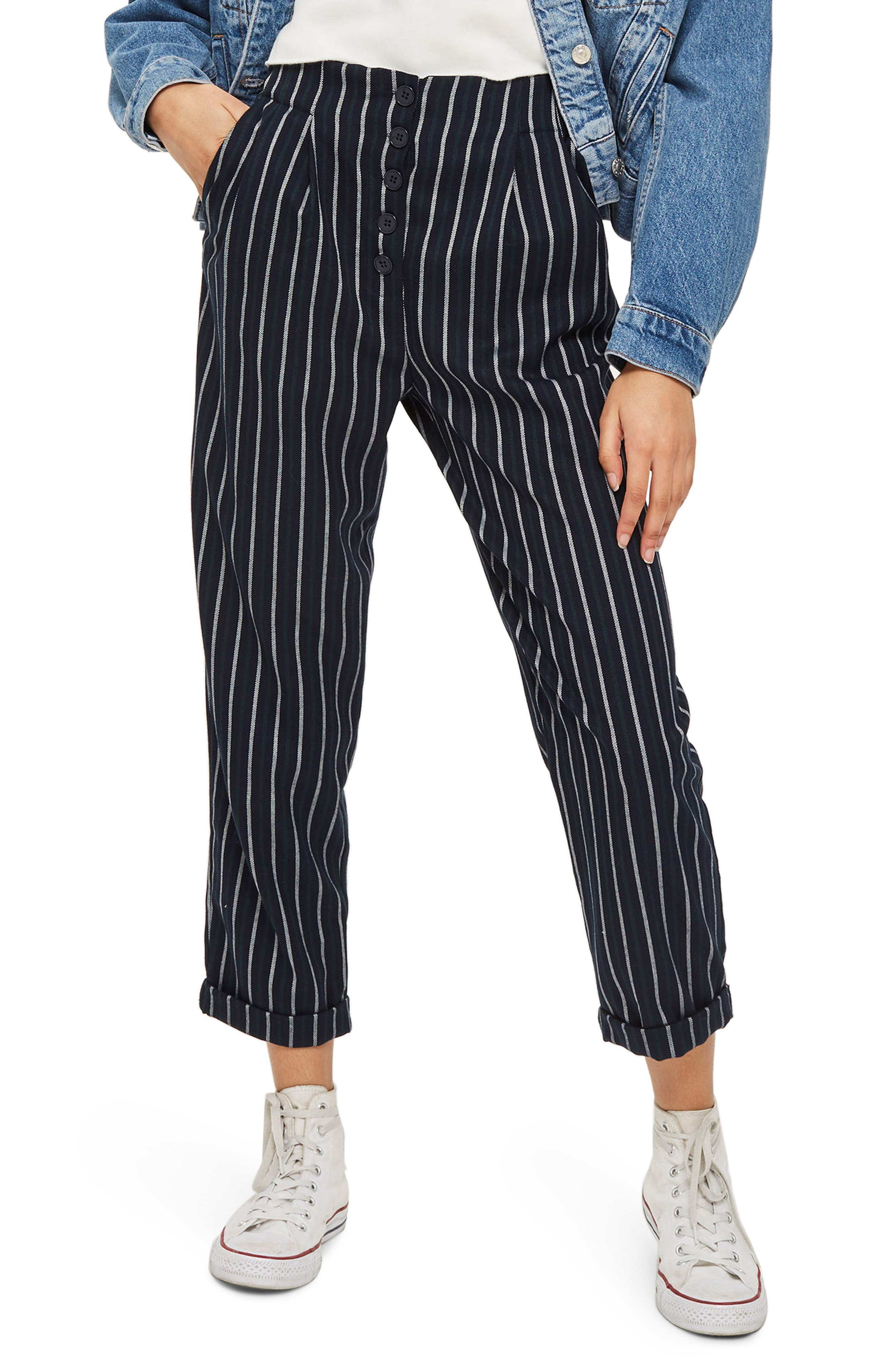 Button Front Stripe Tapered Trousers,                             Main thumbnail 1, color,                             Green Multi