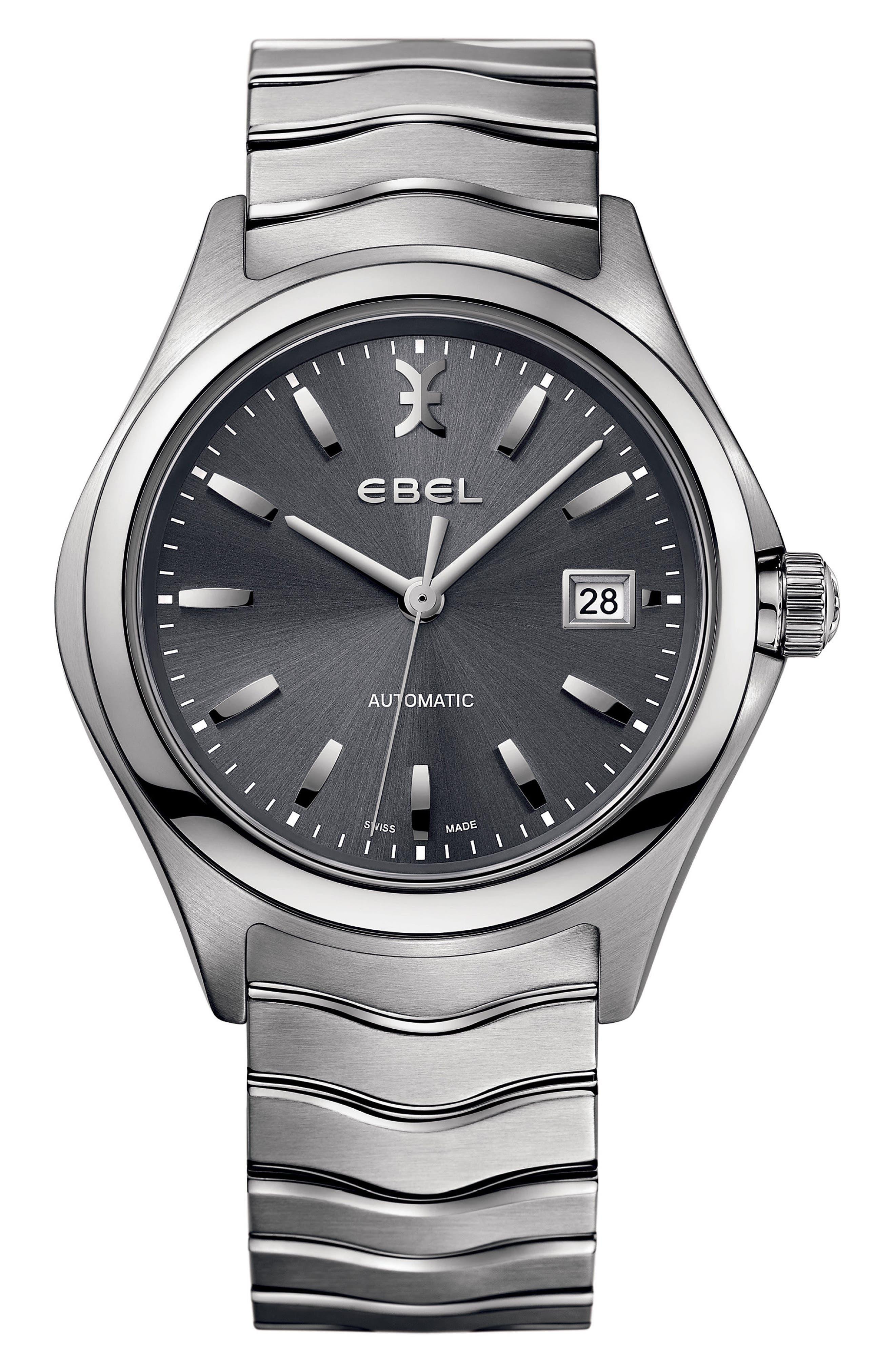 Wave Bracelet Watch, 40mm,                             Main thumbnail 1, color,                             Silver/ Grey/ Silver