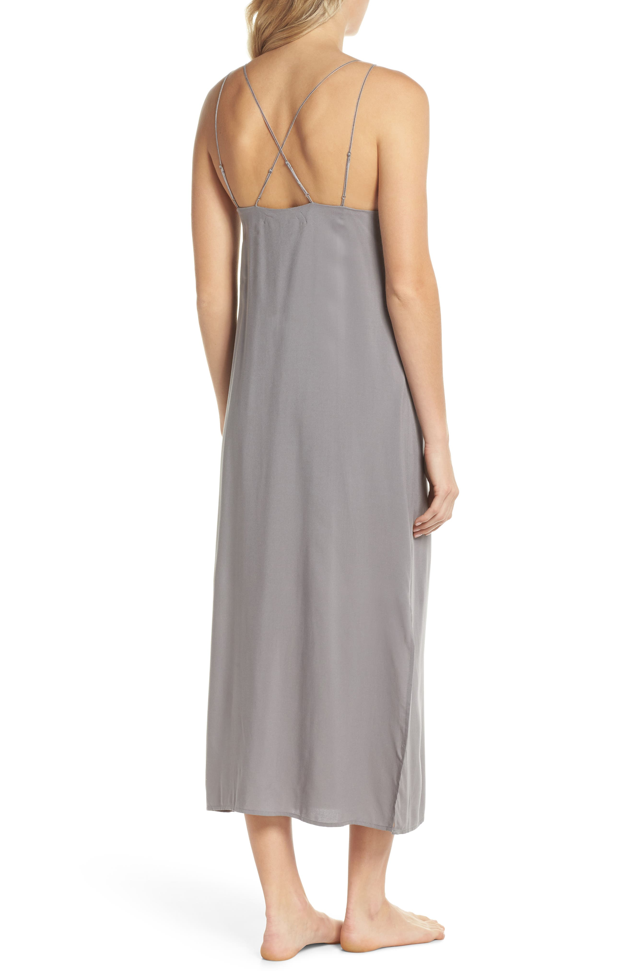 Strappy Nightgown,                             Alternate thumbnail 2, color,                             Aerial Gray