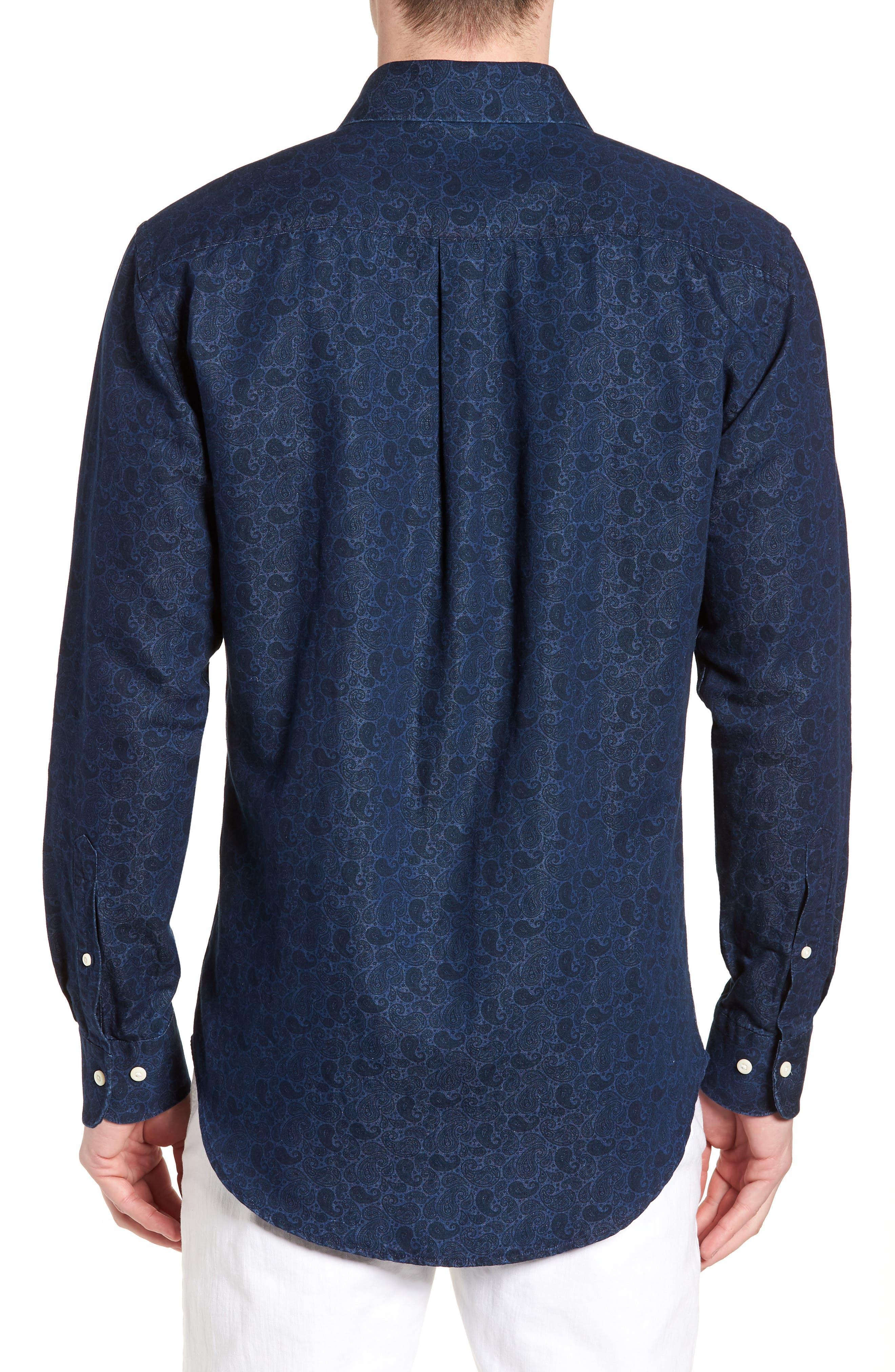 Crown Cool Paisley Denim Sport Shirt,                             Alternate thumbnail 2, color,                             Yankee Blue