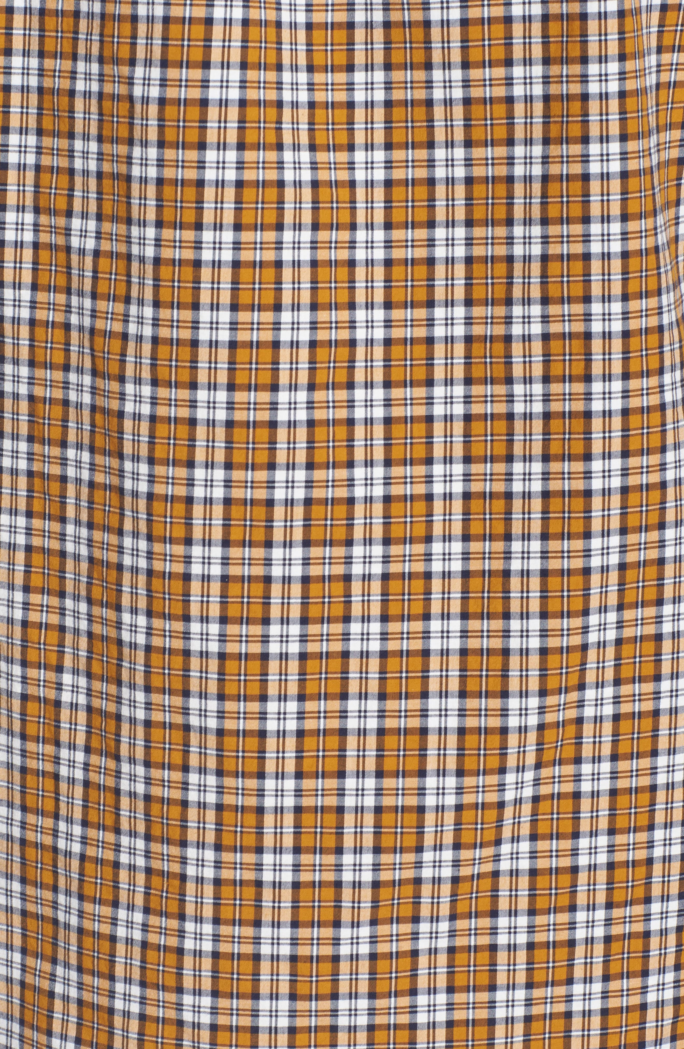 J.Crew Slim Fit Stretch Secret Wash Plaid Sport Shirt,                             Alternate thumbnail 5, color,                             Warm Cider