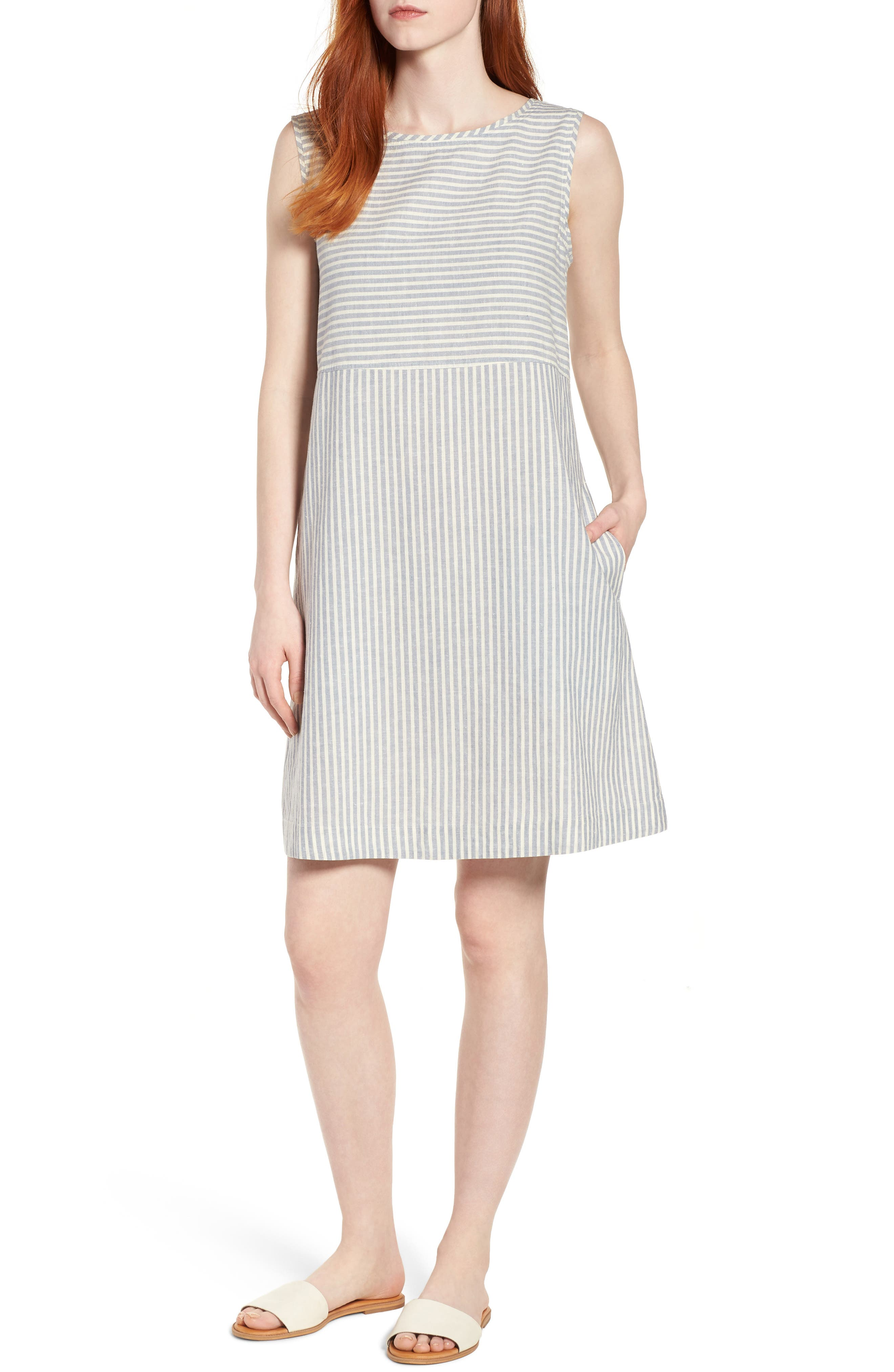 Eileen Fisher Varied Stripe Hemp & Organic Cotton Shift Dress (Regular & Petite)