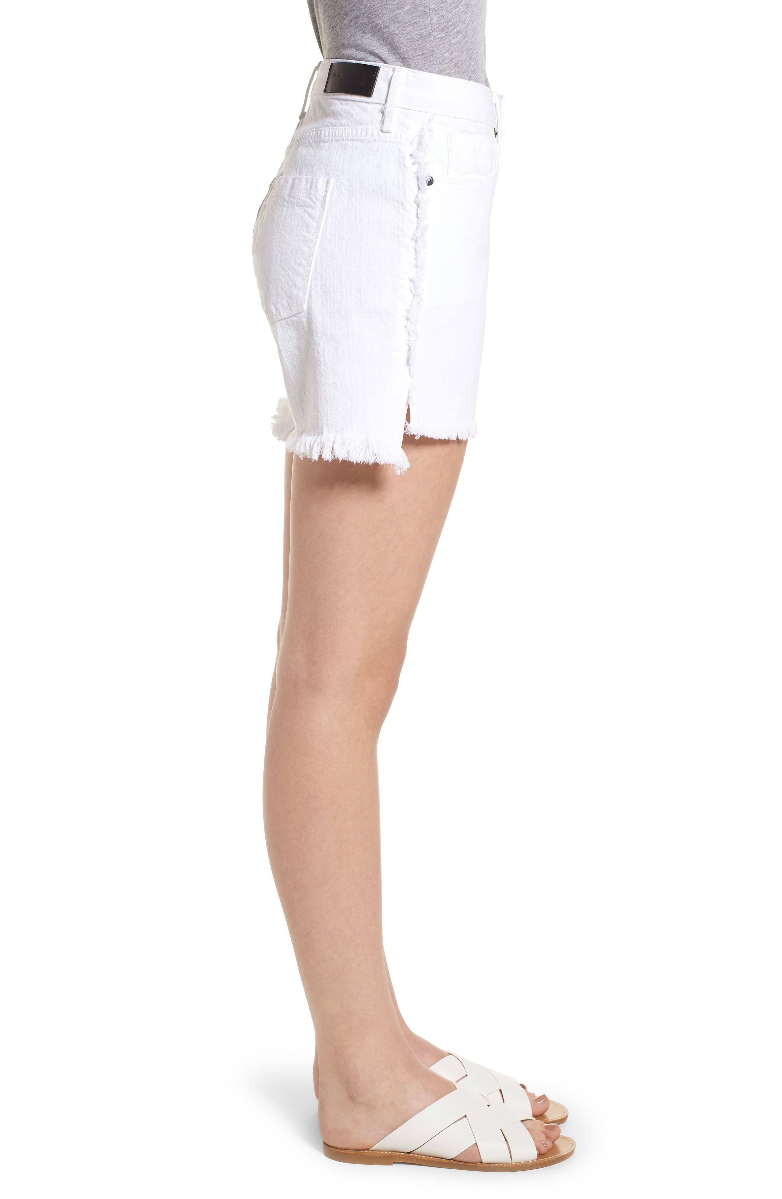 Step Hem Frayed Denim Shorts,                             Alternate thumbnail 3, color,                             Blanc