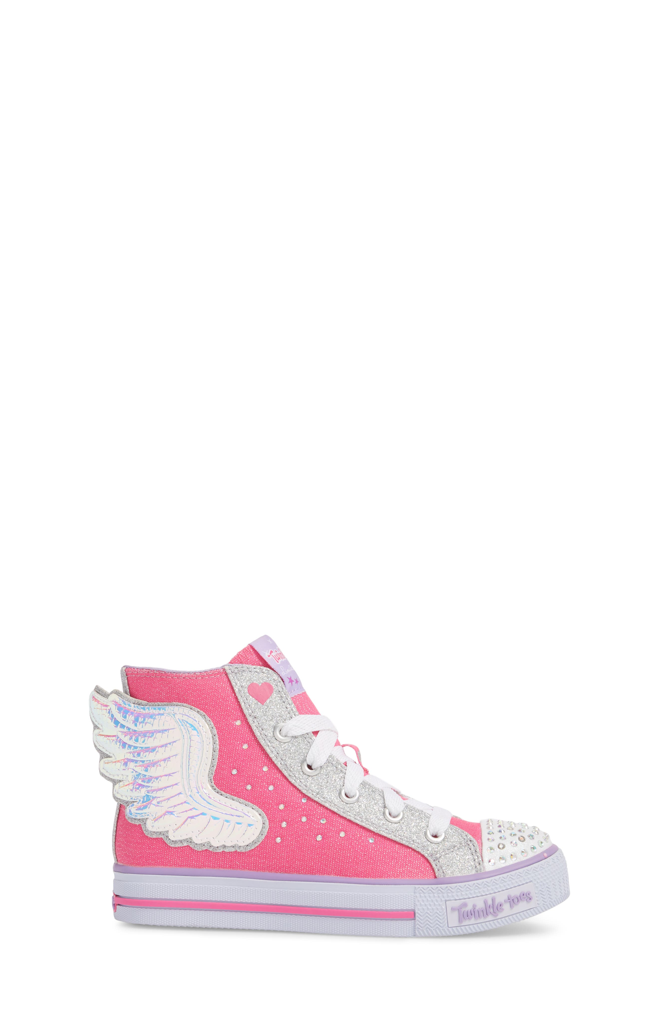 Twinkle Toes Shuffles Wonder Wings Light-Up High Top Sneaker,                             Alternate thumbnail 3, color,                             Hot Pink/ Silver