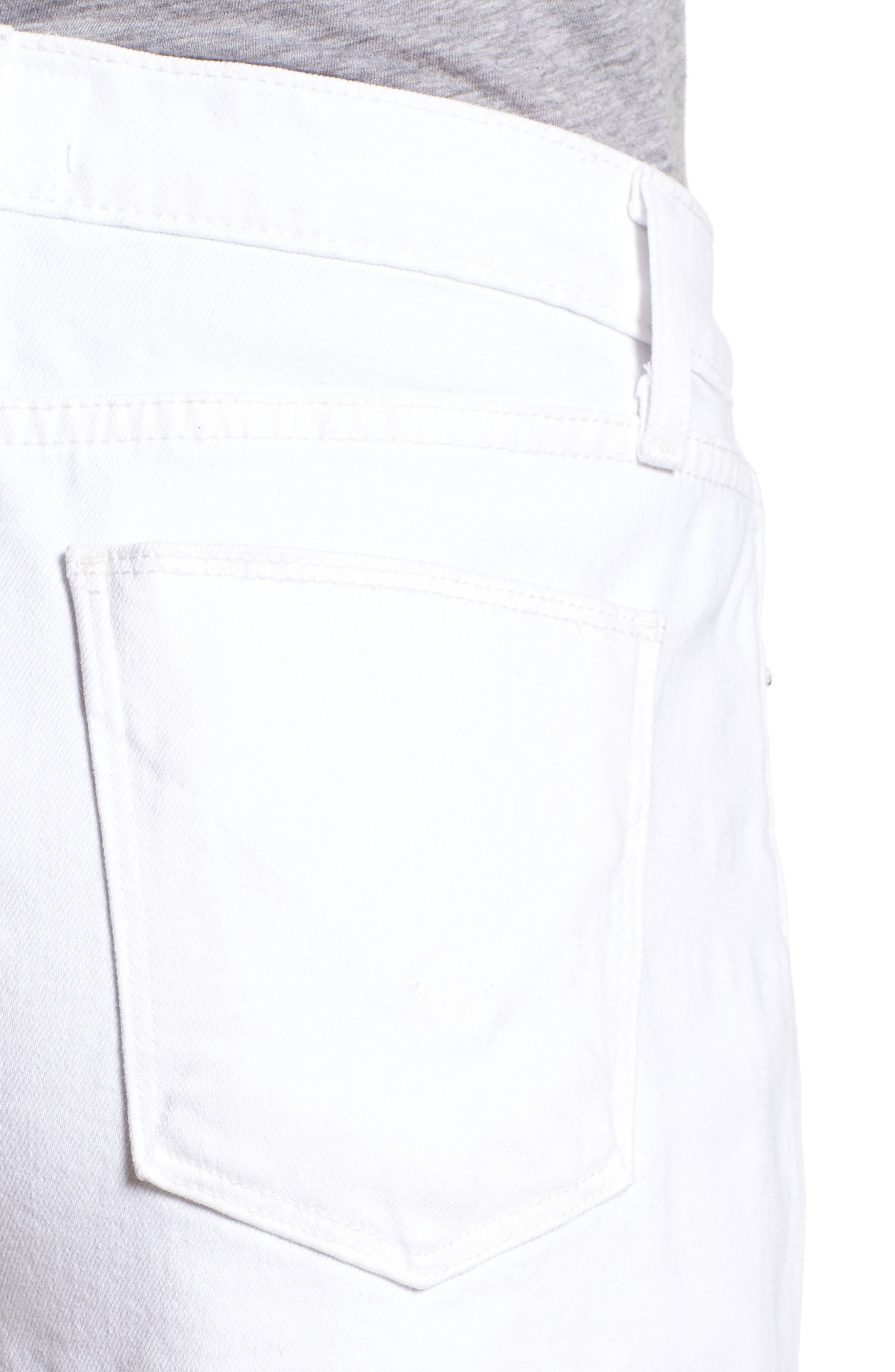 Zoeey Button Fly High Waist Denim Shorts,                             Alternate thumbnail 4, color,                             White