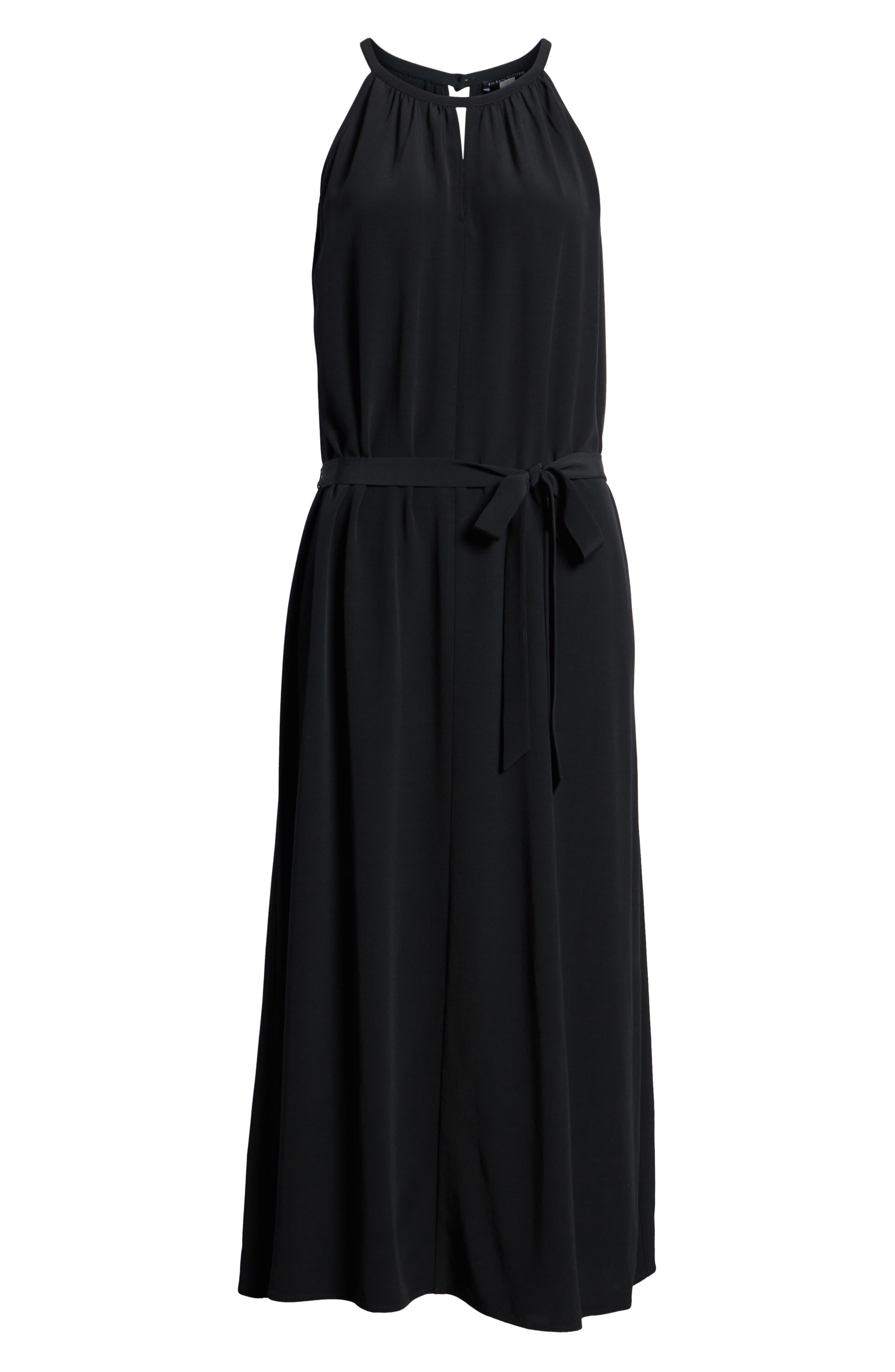 Tencel<sup>®</sup> Lyocell Blend Midi Dress,                             Alternate thumbnail 7, color,                             Black