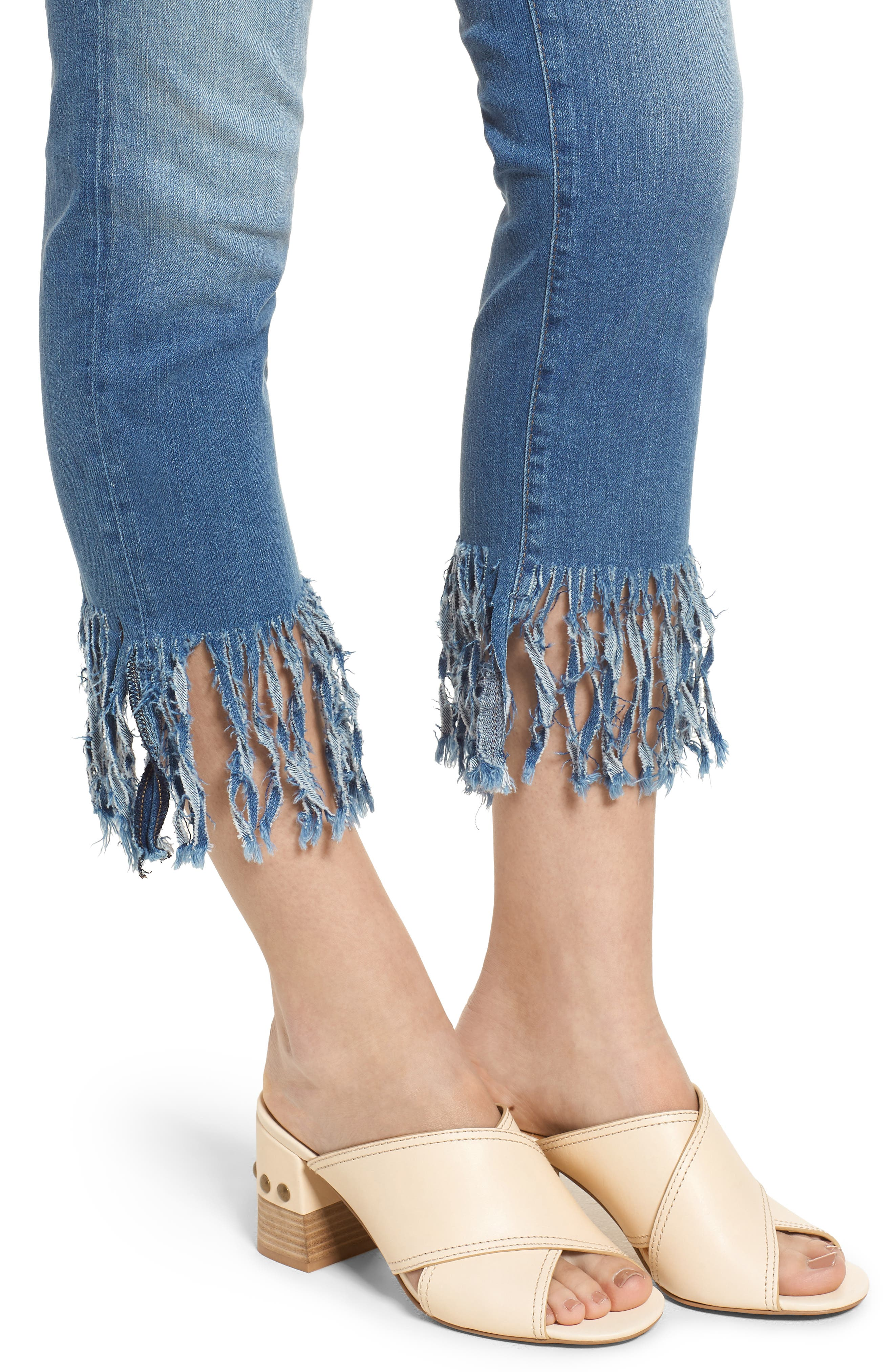Kerry Fringe Hem Ankle Jeans,                             Alternate thumbnail 4, color,                             Distressed Vintage