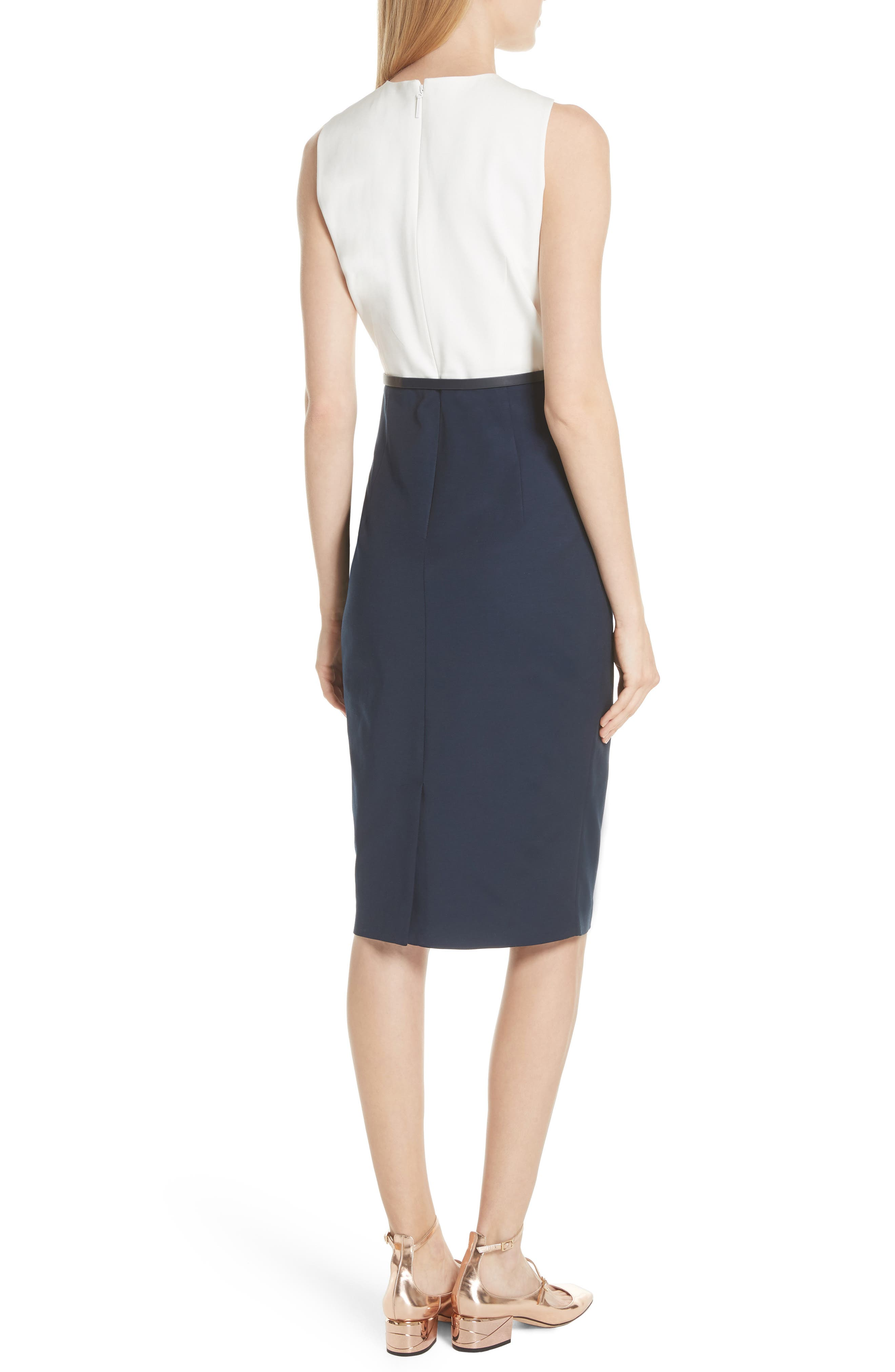 Twist Neck Belted Pencil Dress,                             Alternate thumbnail 2, color,                             Dark Blue