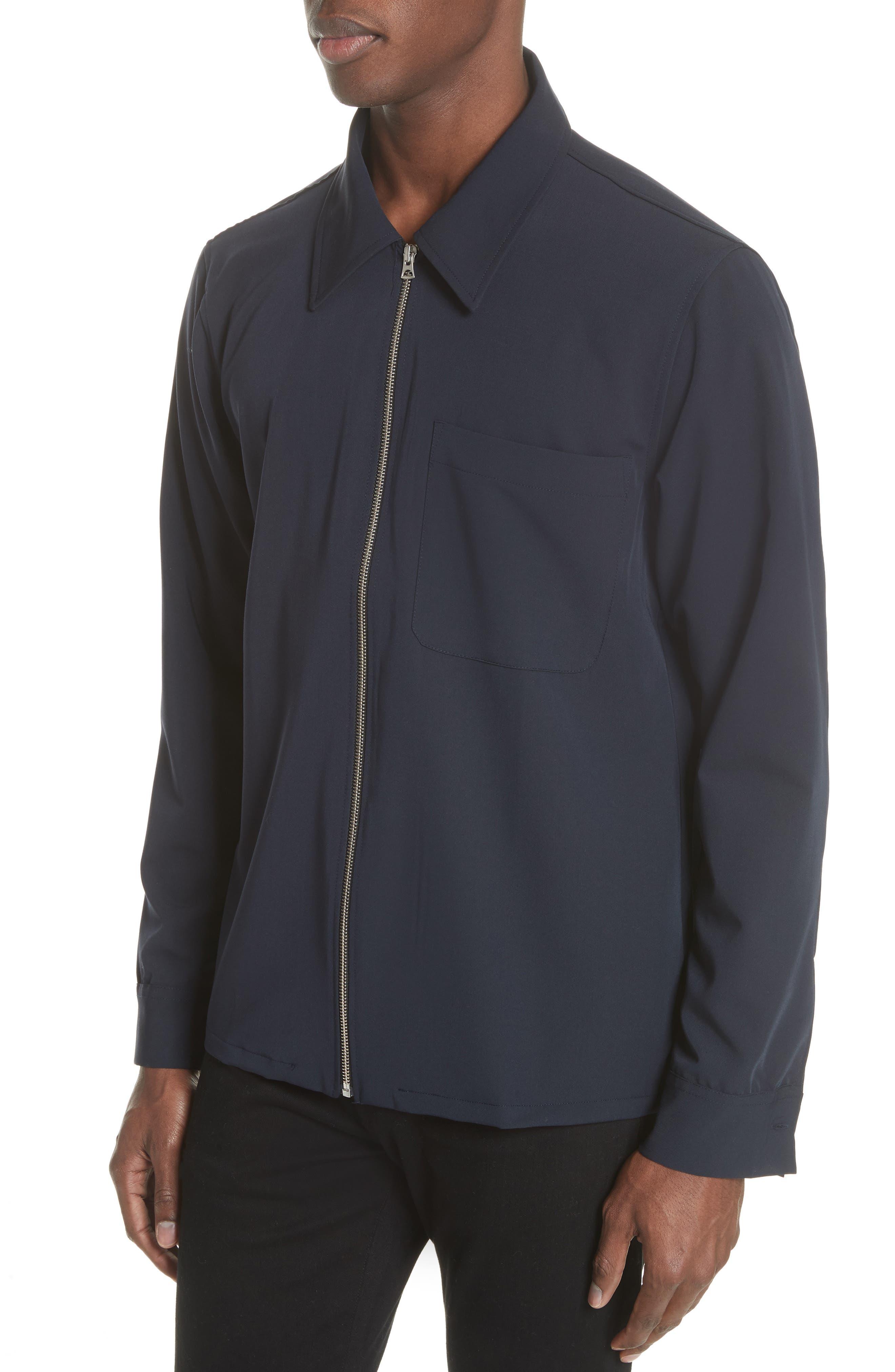 Gabardine Zip Shirt Jacket,                             Alternate thumbnail 4, color,                             Navy