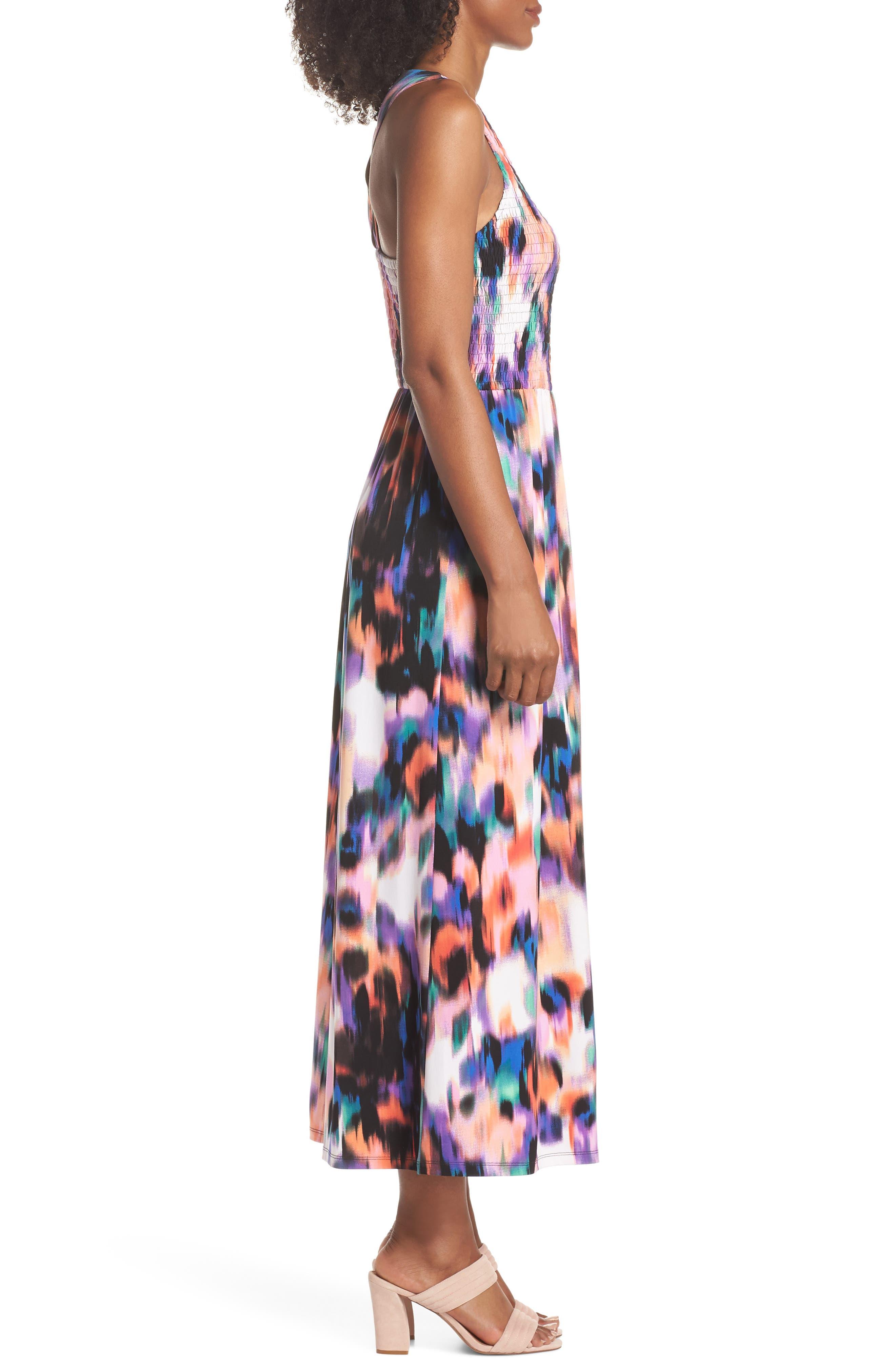Print Matte Jersey Maxi Dress,                             Alternate thumbnail 3, color,                             Soft White/ Multi