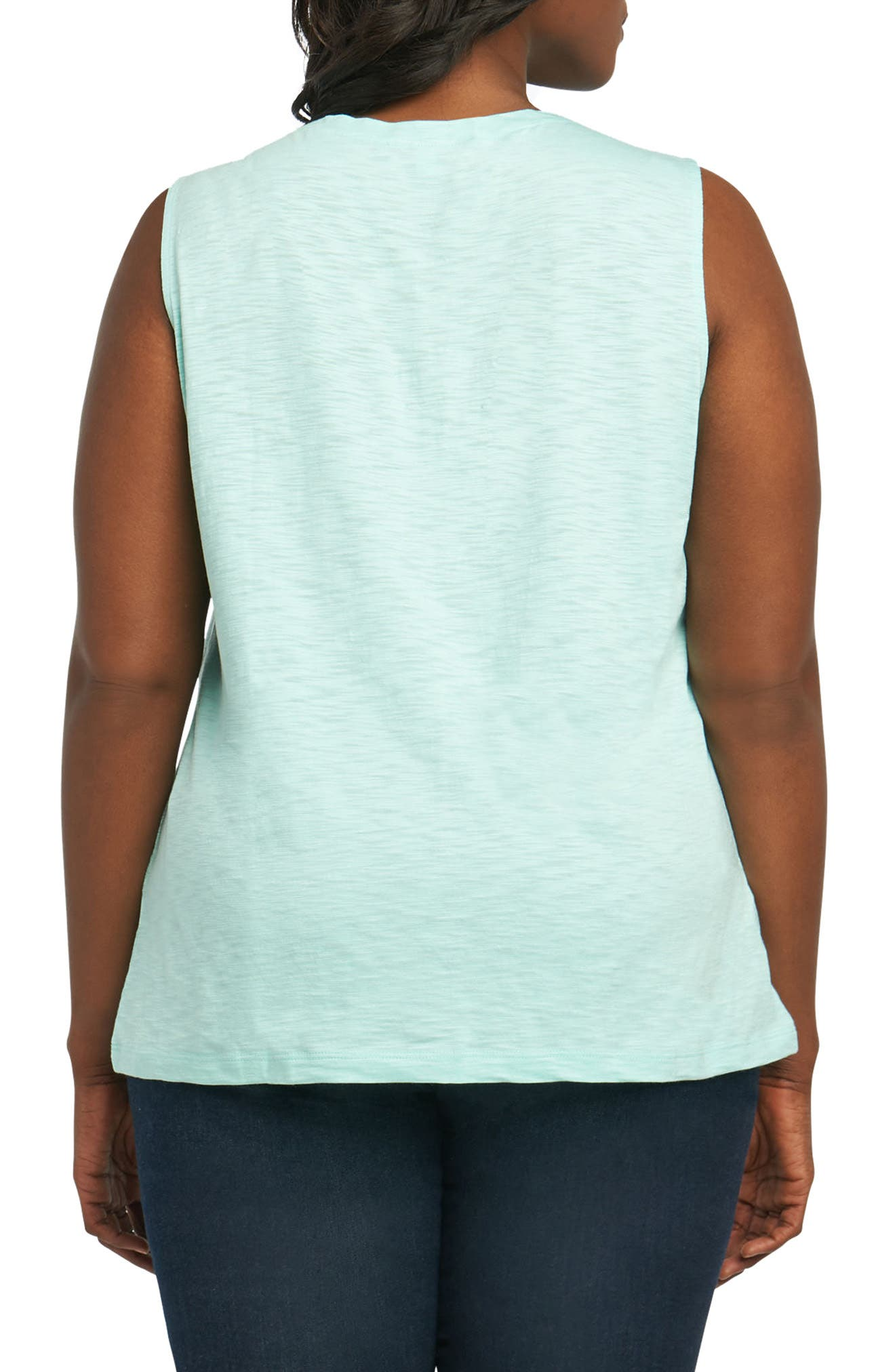 Melia Cotton Blend Tank Top,                             Alternate thumbnail 2, color,                             Sea Glass