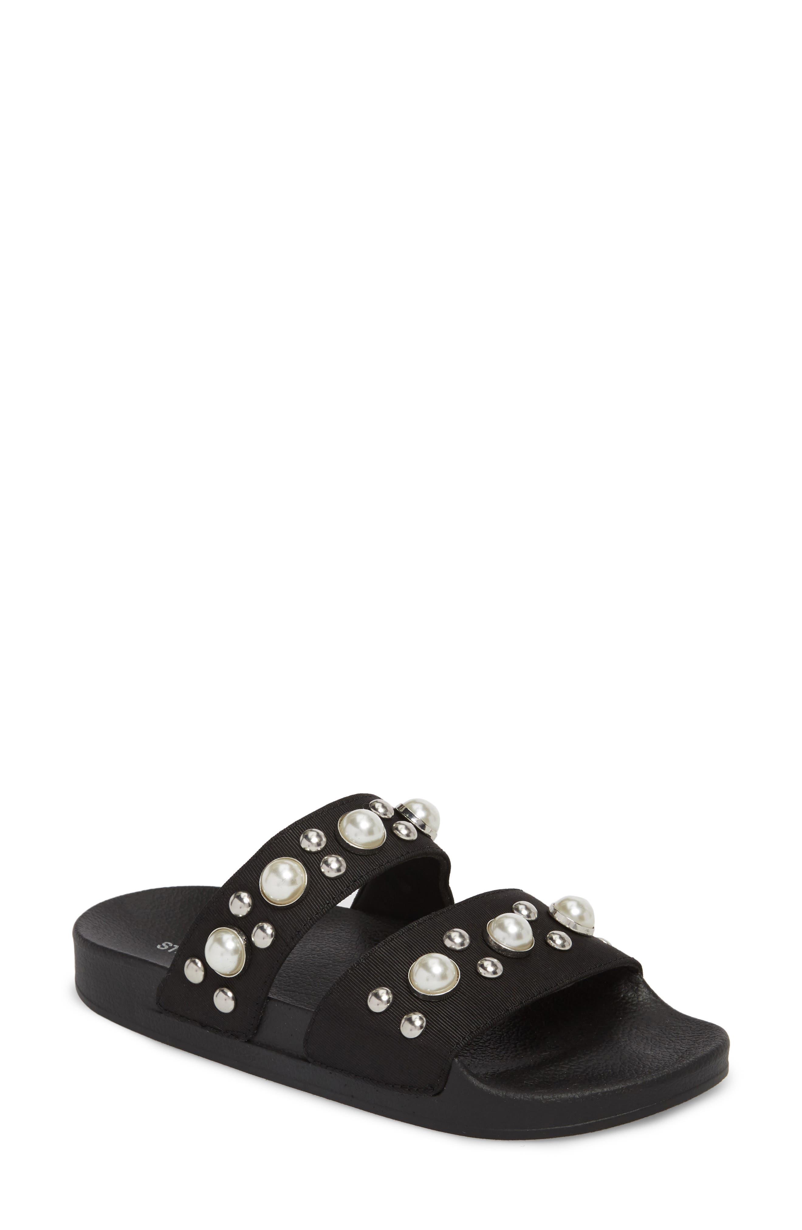Polite Embellished Slide Sandal,                             Main thumbnail 1, color,                             Black