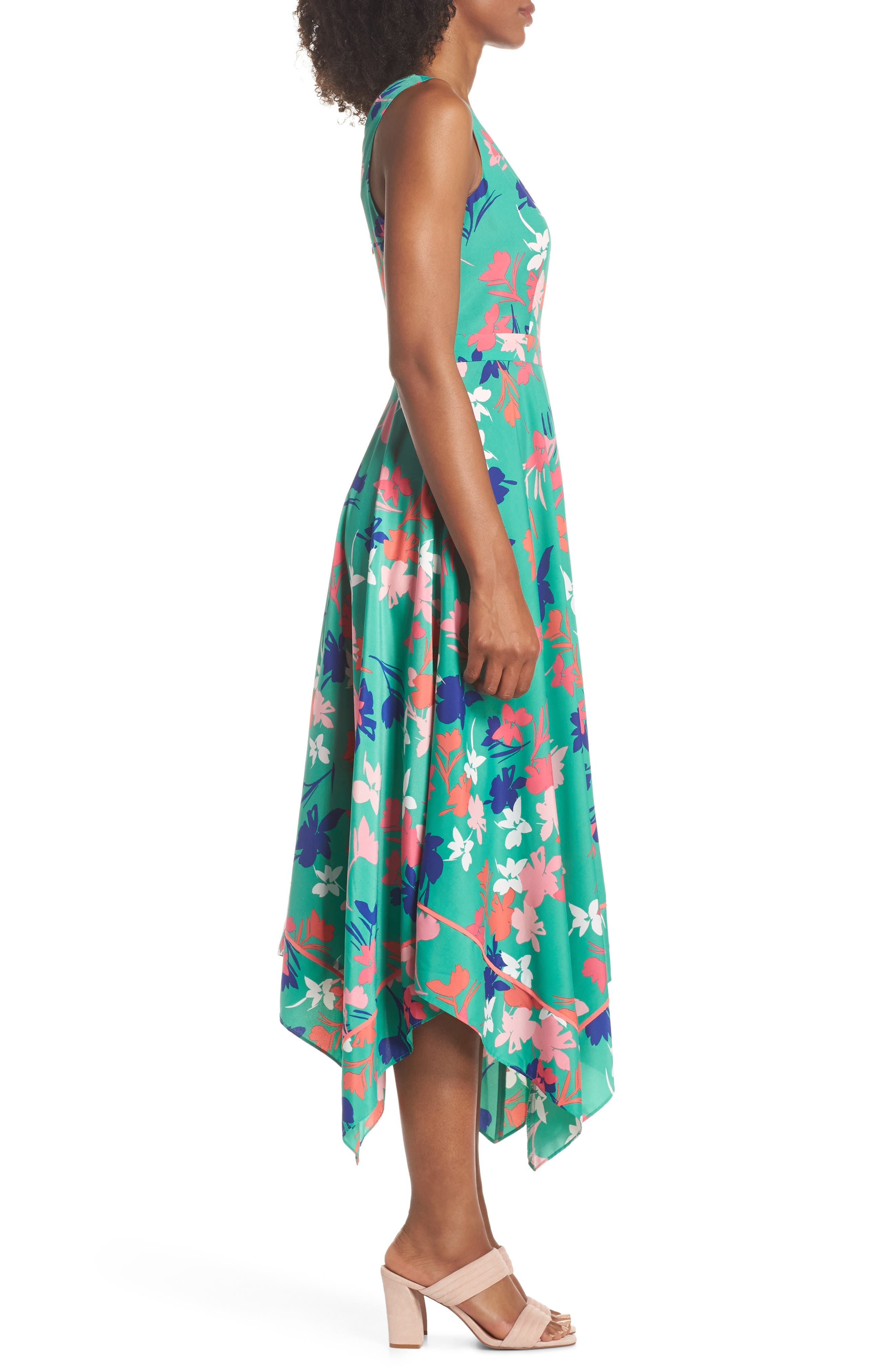 Floral Asymmetric Hem Midi Dress,                             Alternate thumbnail 3, color,                             Green