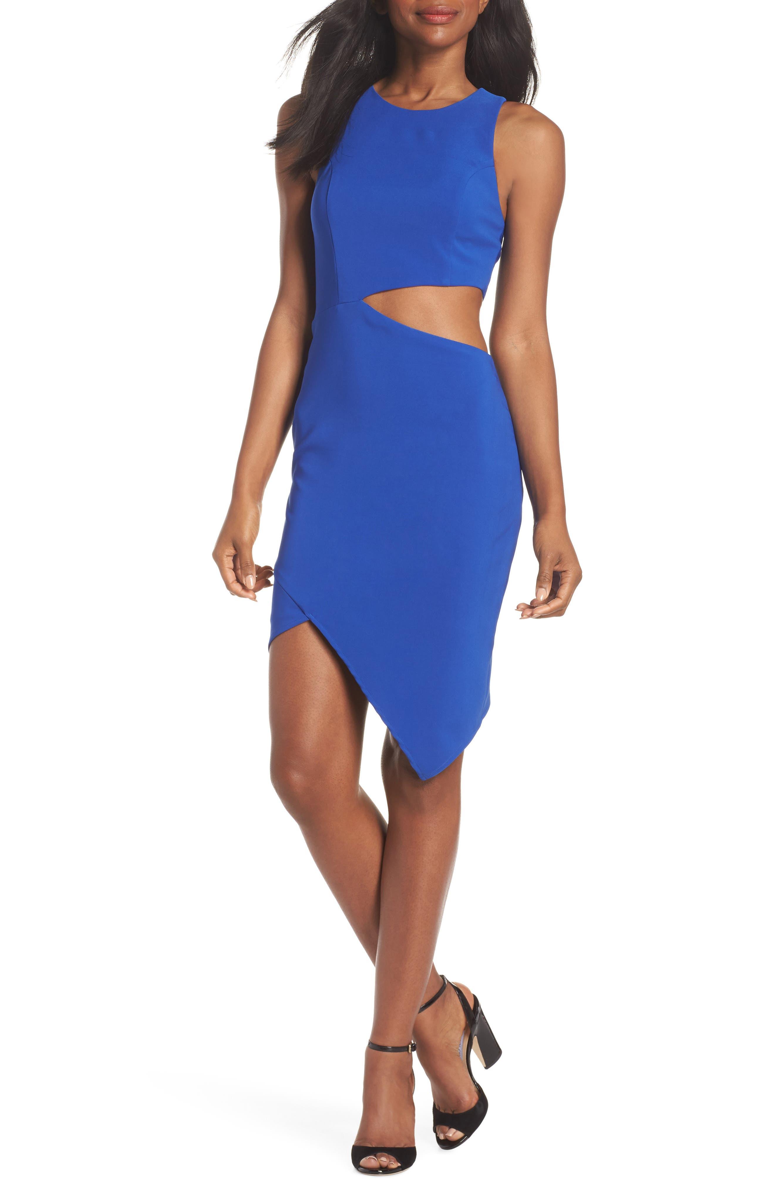 Taylor Racer Cutout Asymmetrical Dress,                             Main thumbnail 1, color,                             Cobalt