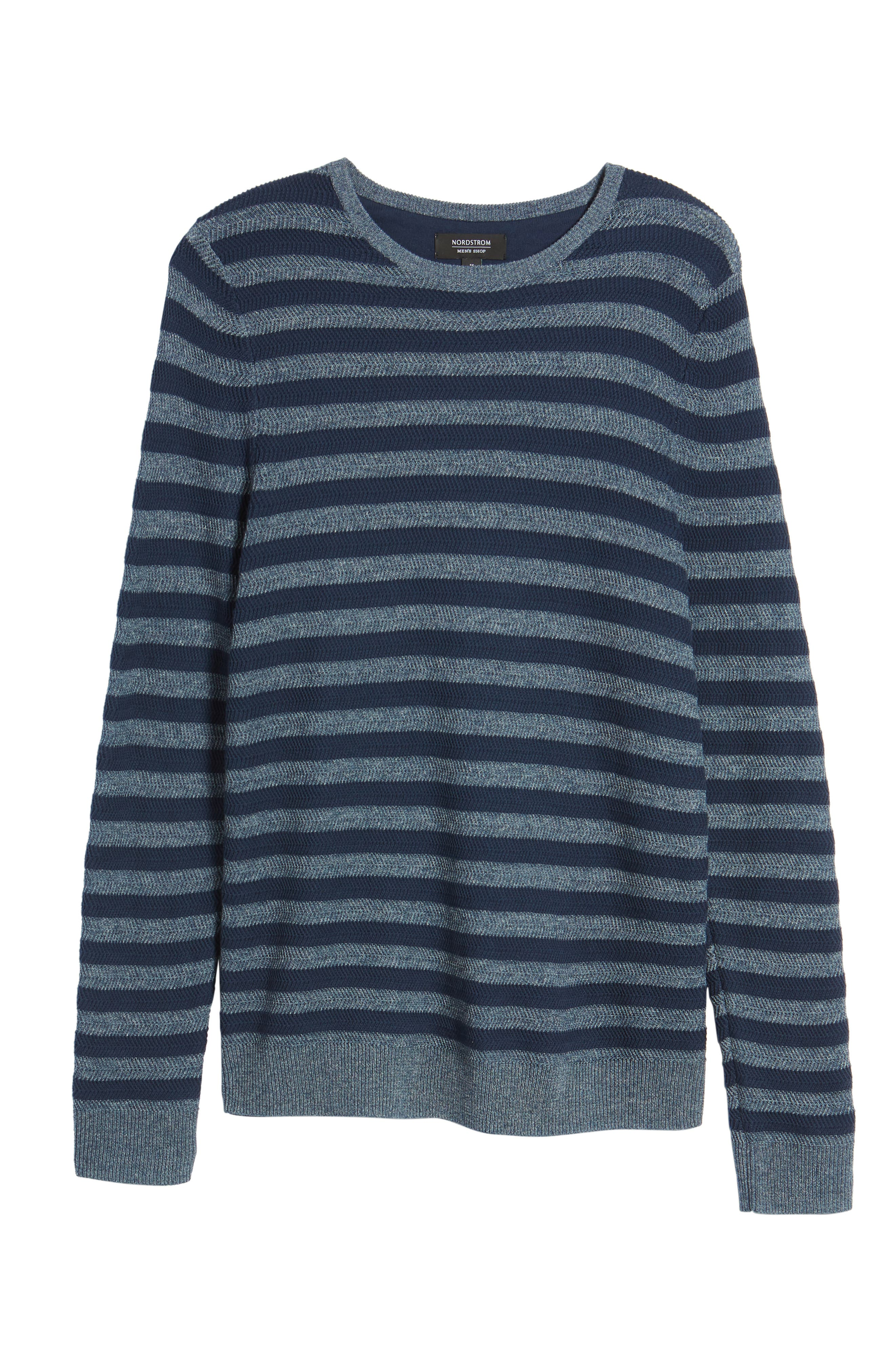 Stripe Cotton Blend Sweater,                             Alternate thumbnail 6, color,                             Navy Iris Stripe