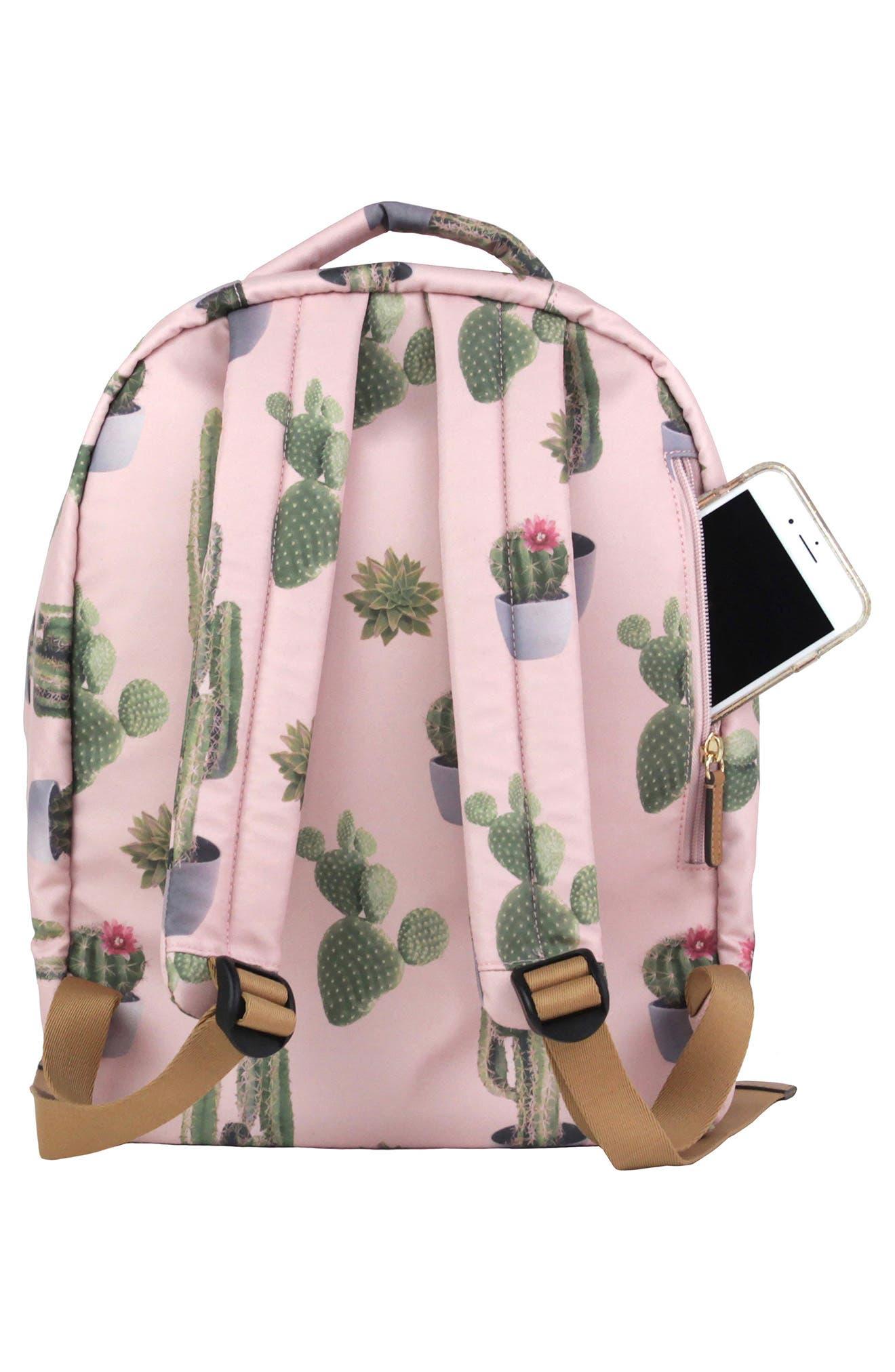 Mini-Go Water Resistant Diaper Backpack,                             Alternate thumbnail 4, color,                             Cactus