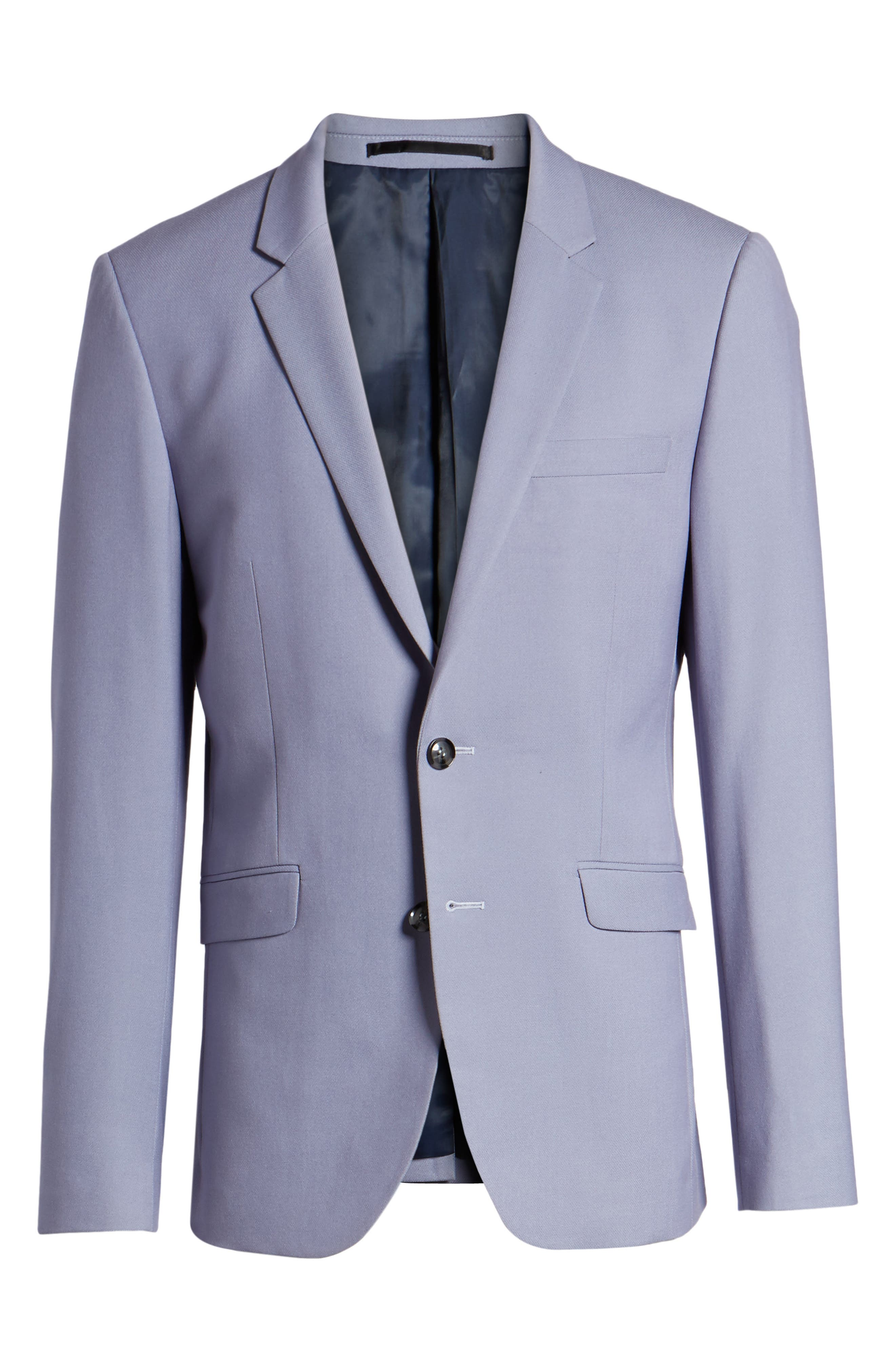 Skinny Fit Suit Jacket,                             Alternate thumbnail 6, color,                             Purple