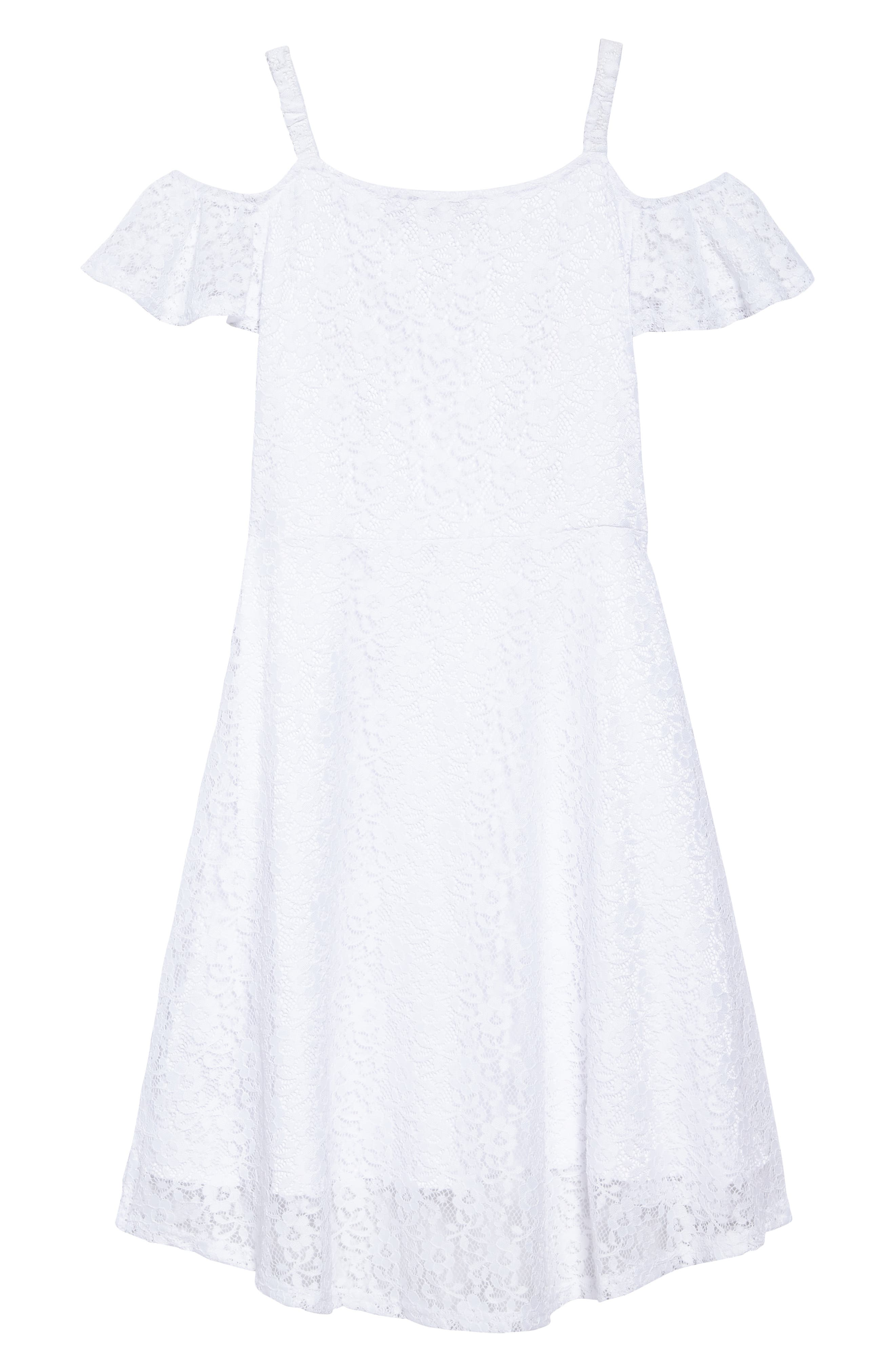 Alternate Image 2  - Marciano Embroidered Lace Cold Shoulder Dress (Big Girls)