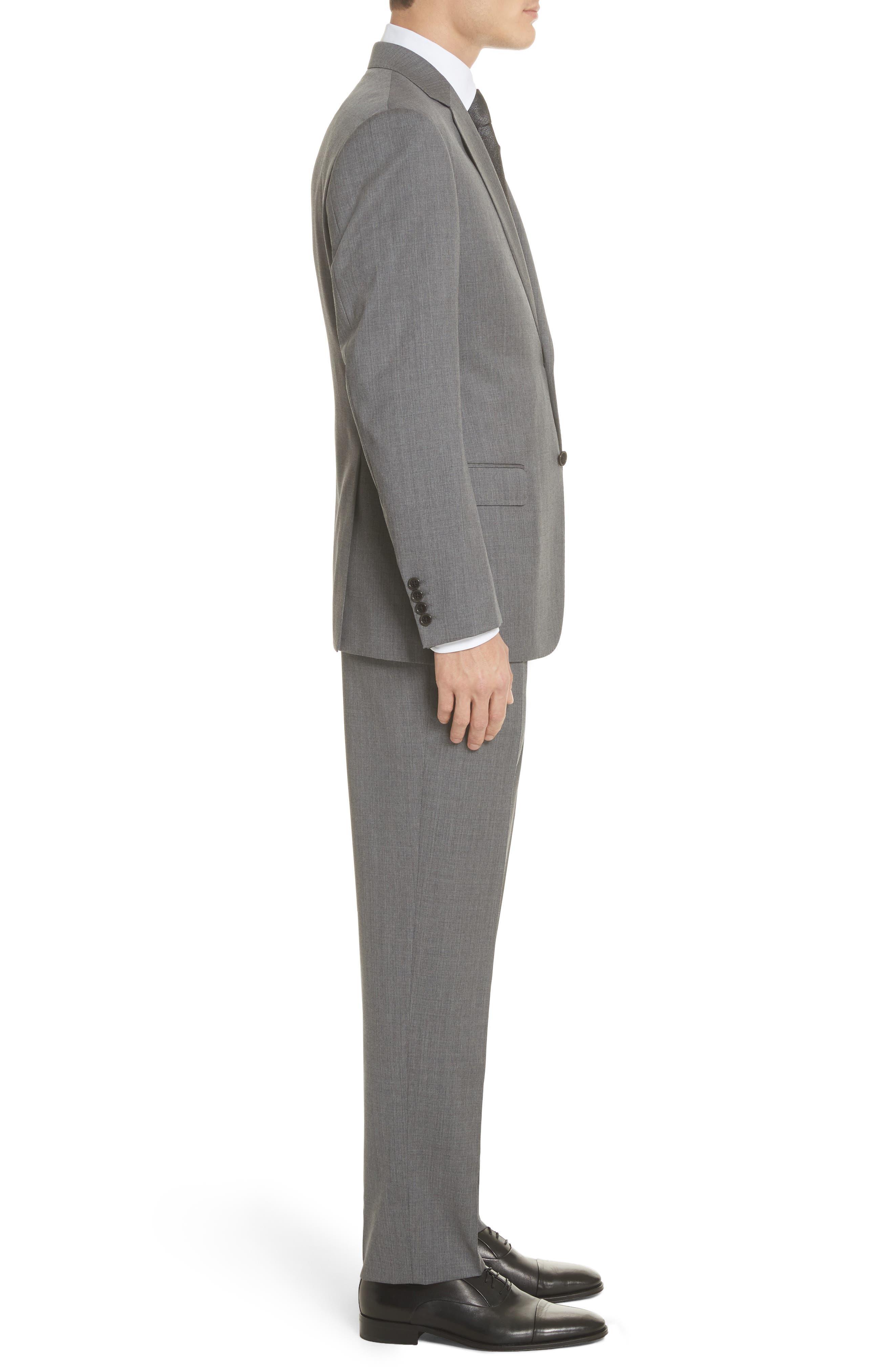 Trim Fit Sharkskin Wool Suit,                             Alternate thumbnail 3, color,                             Grey