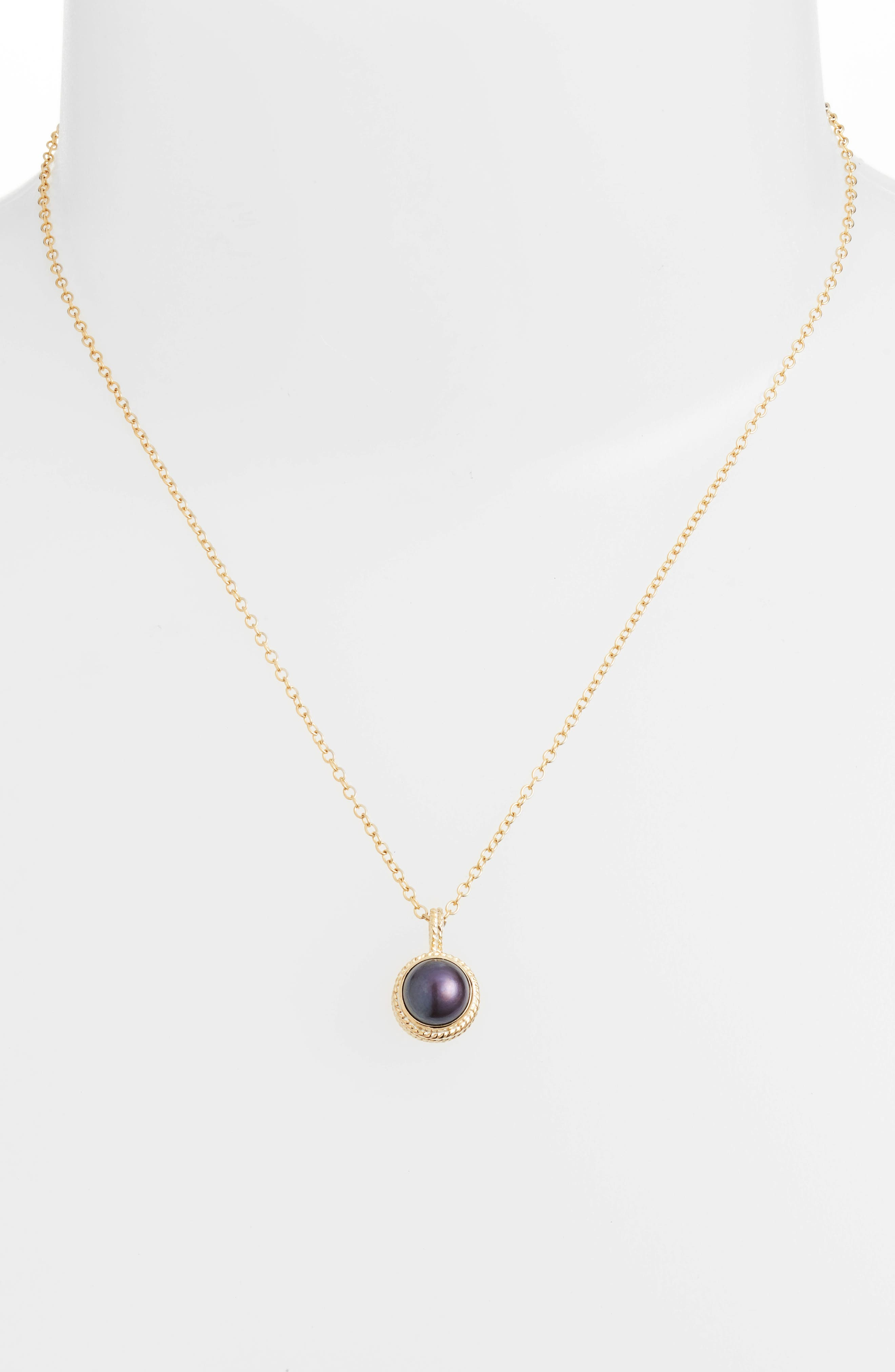 Genuine Blue Pearl Pendant Necklace,                             Alternate thumbnail 2, color,                             Gold/ Blue Pearl
