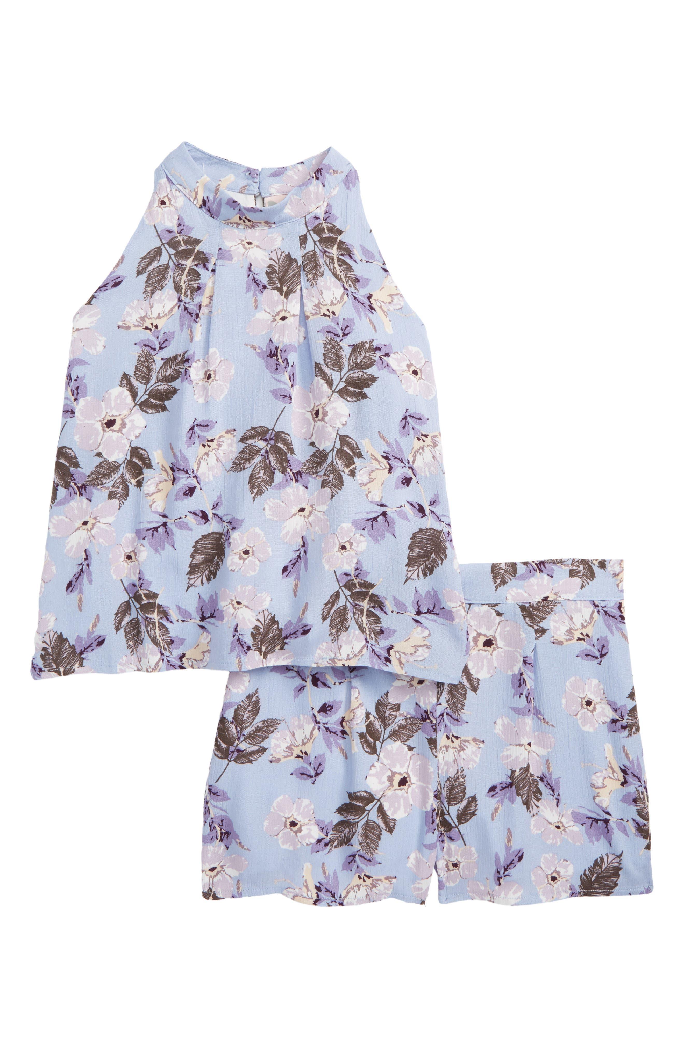 Print Halter Top & Shorts Set,                         Main,                         color, Lavender