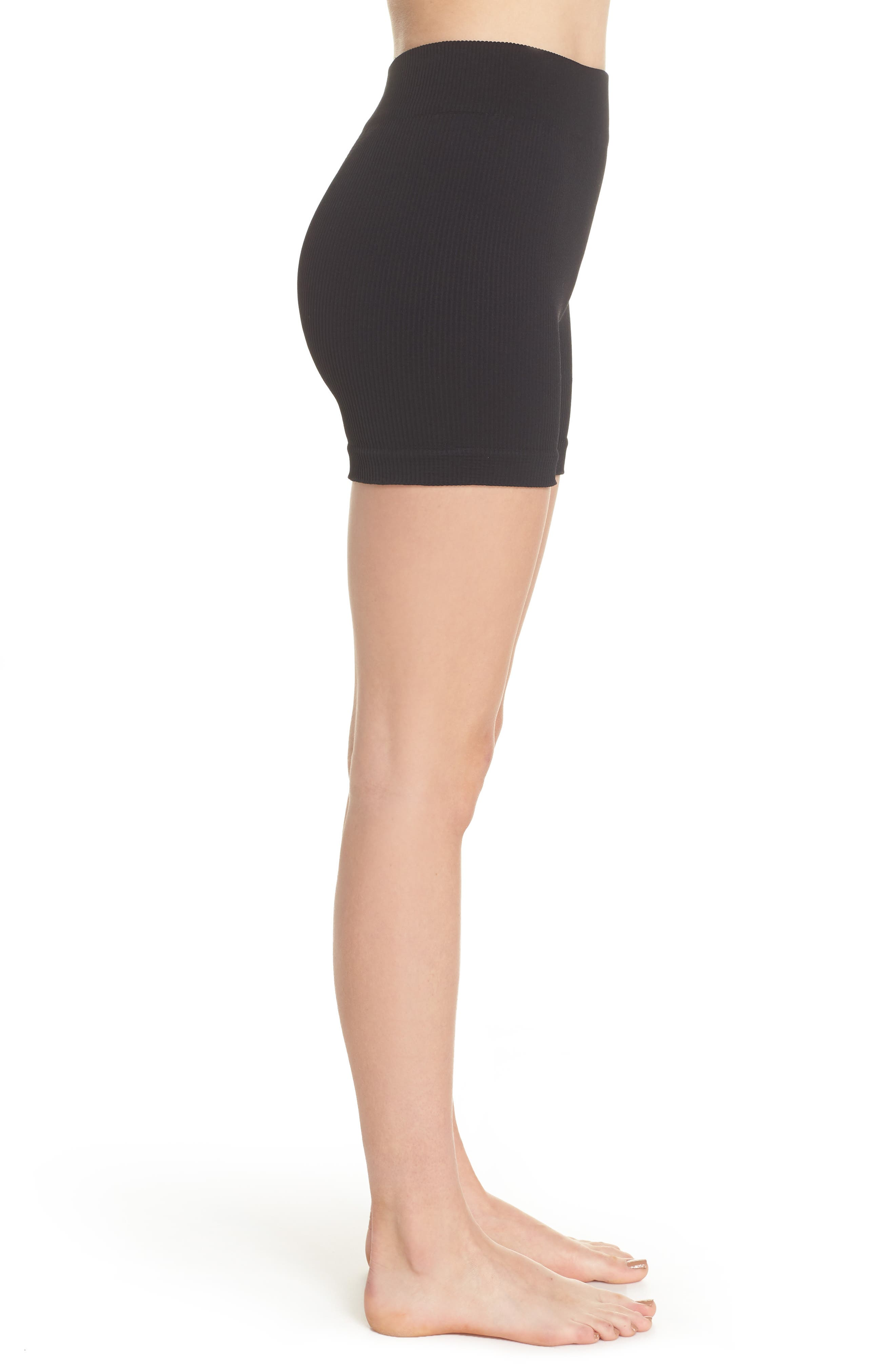 Free People Seamless Shorts,                             Alternate thumbnail 3, color,                             Black