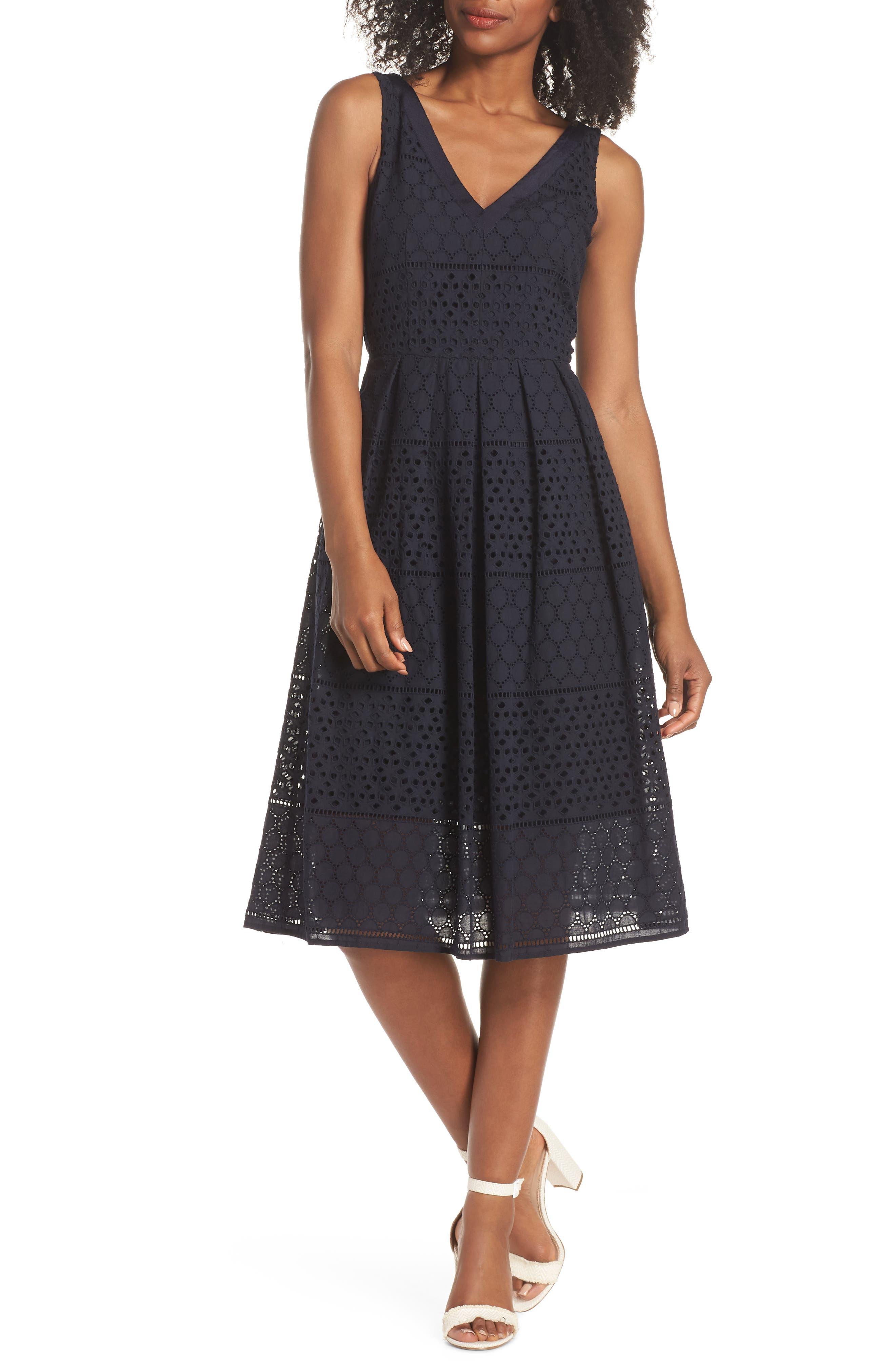 V-Neck Cotton Eyelet Fit & Flare Dress,                         Main,                         color, Navy