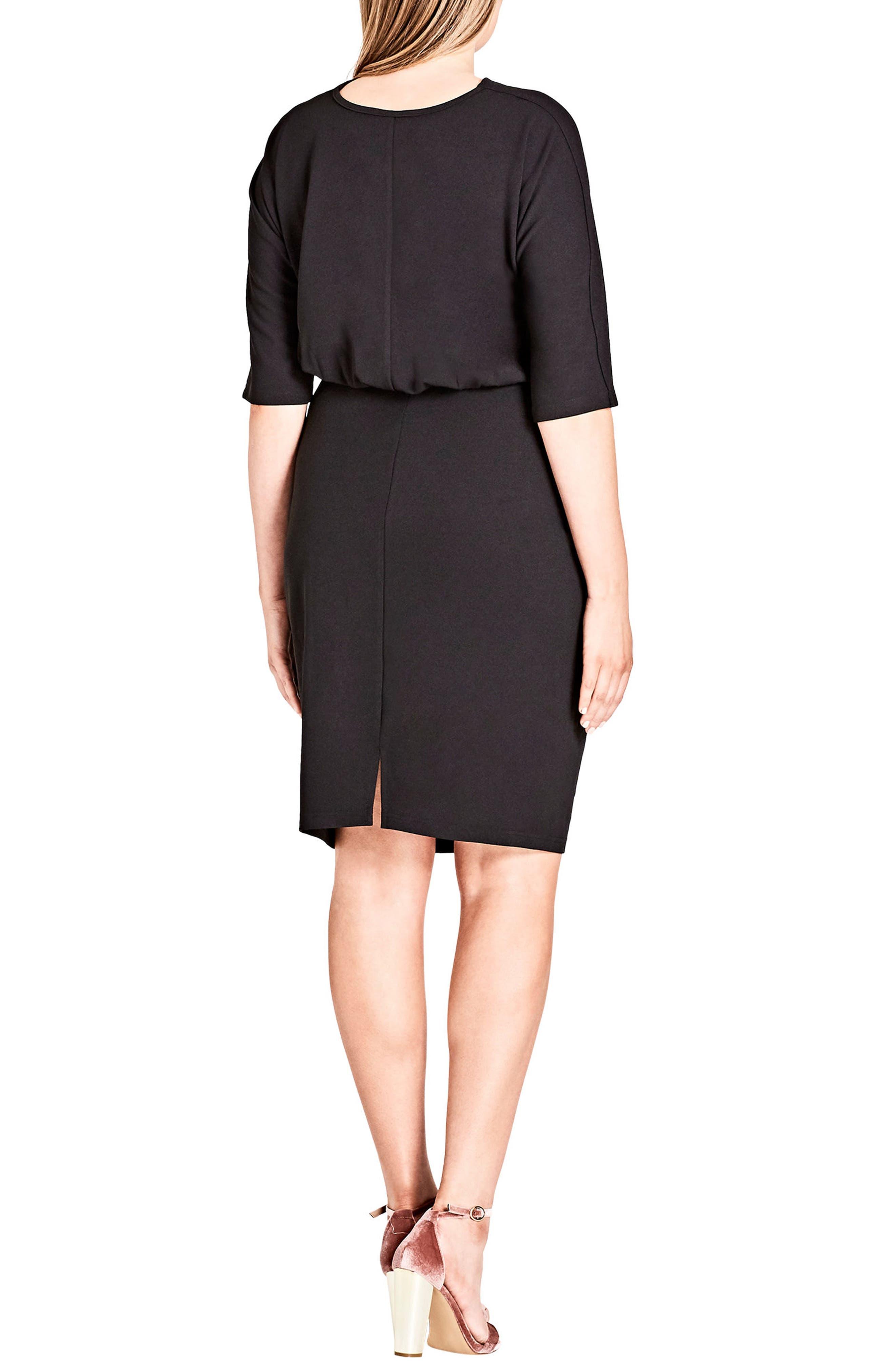 Tie Front Dress,                             Alternate thumbnail 2, color,                             Black