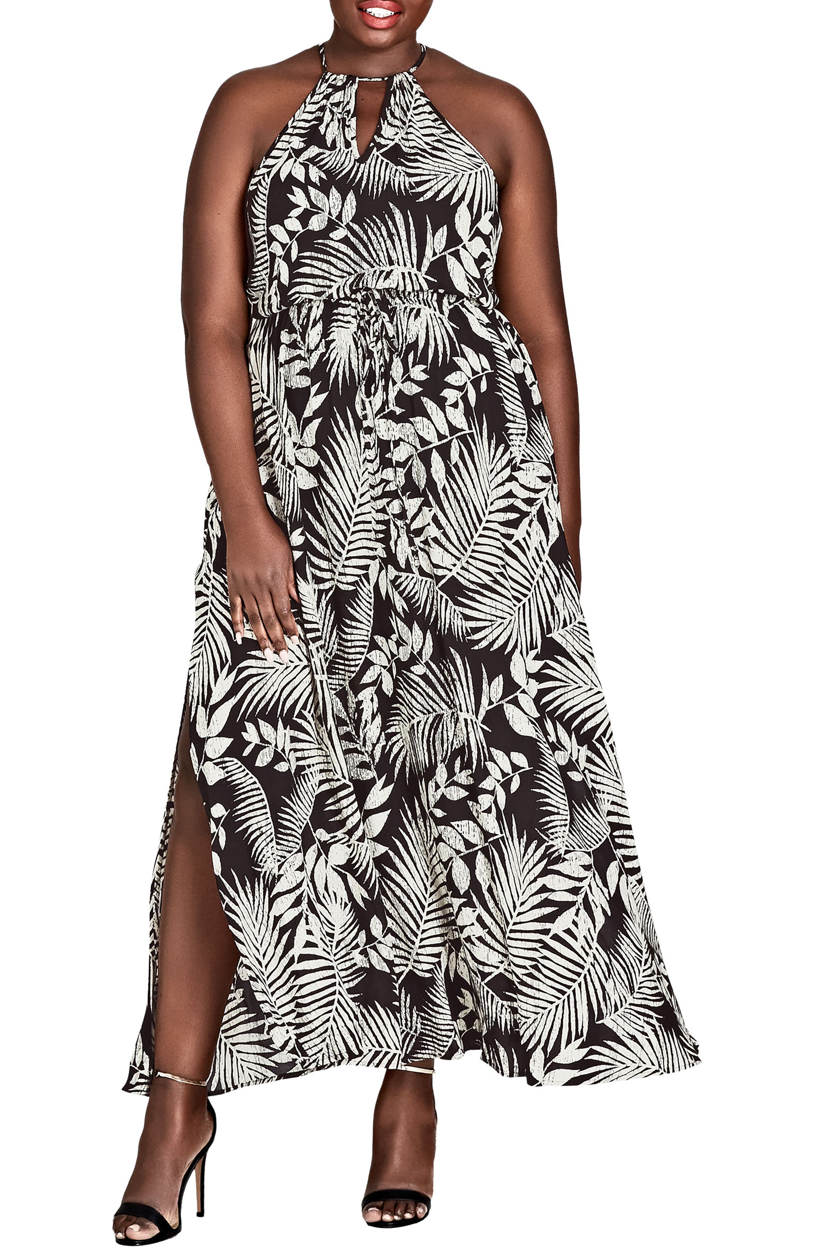 Palm Play Maxi Dress,                         Main,                         color, Palm Play
