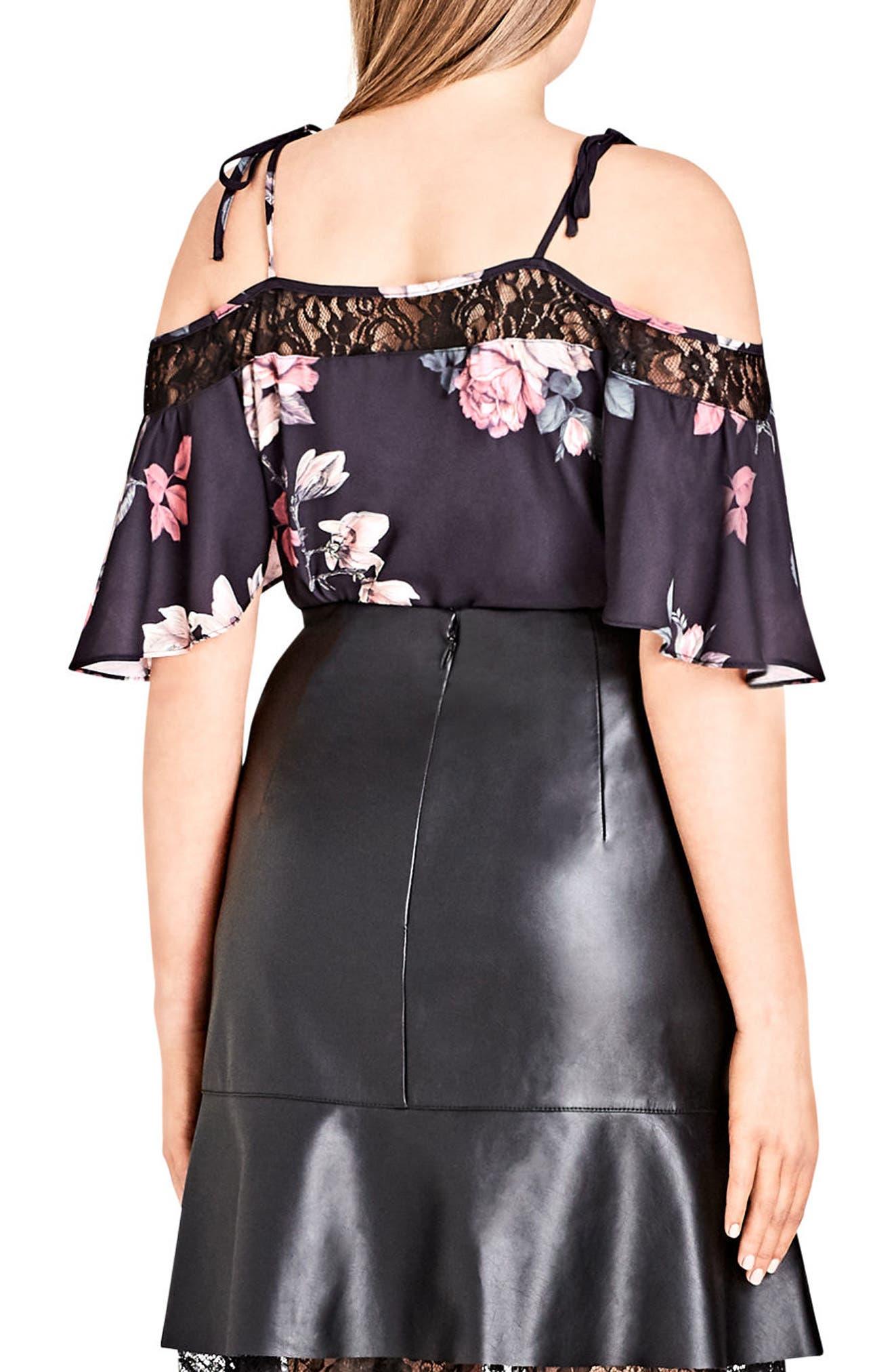 Lace Trim Floral Off the Shoulder Top,                             Alternate thumbnail 2, color,                             Mirror Rose