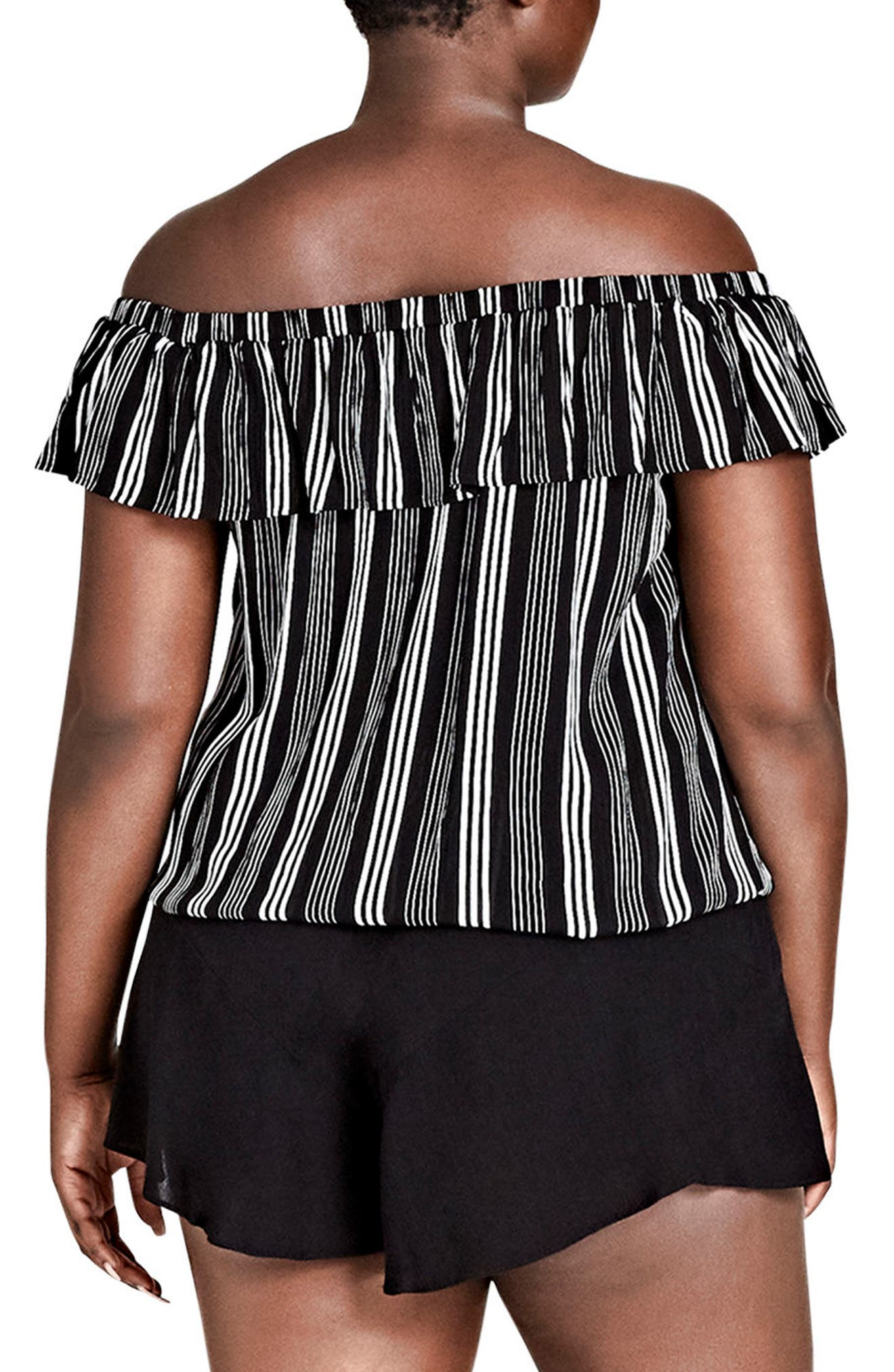 Stripe Play Off the Shoulder Top,                             Alternate thumbnail 2, color,                             Stripe Play
