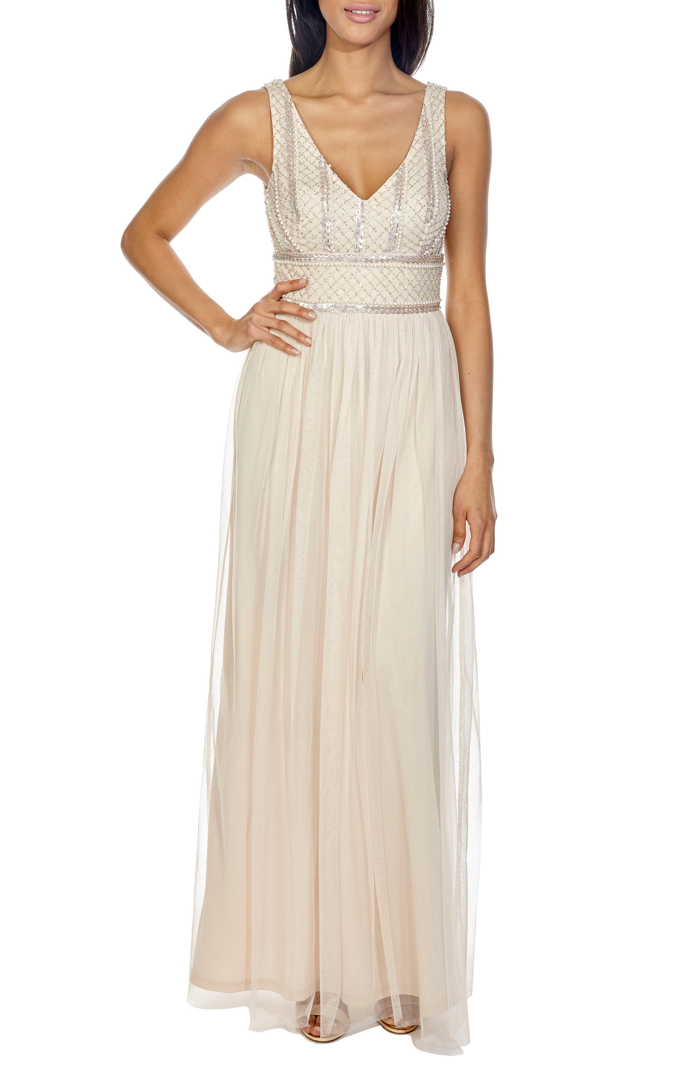 Mulan Sequin & Tulle Gown,                         Main,                         color, Nude
