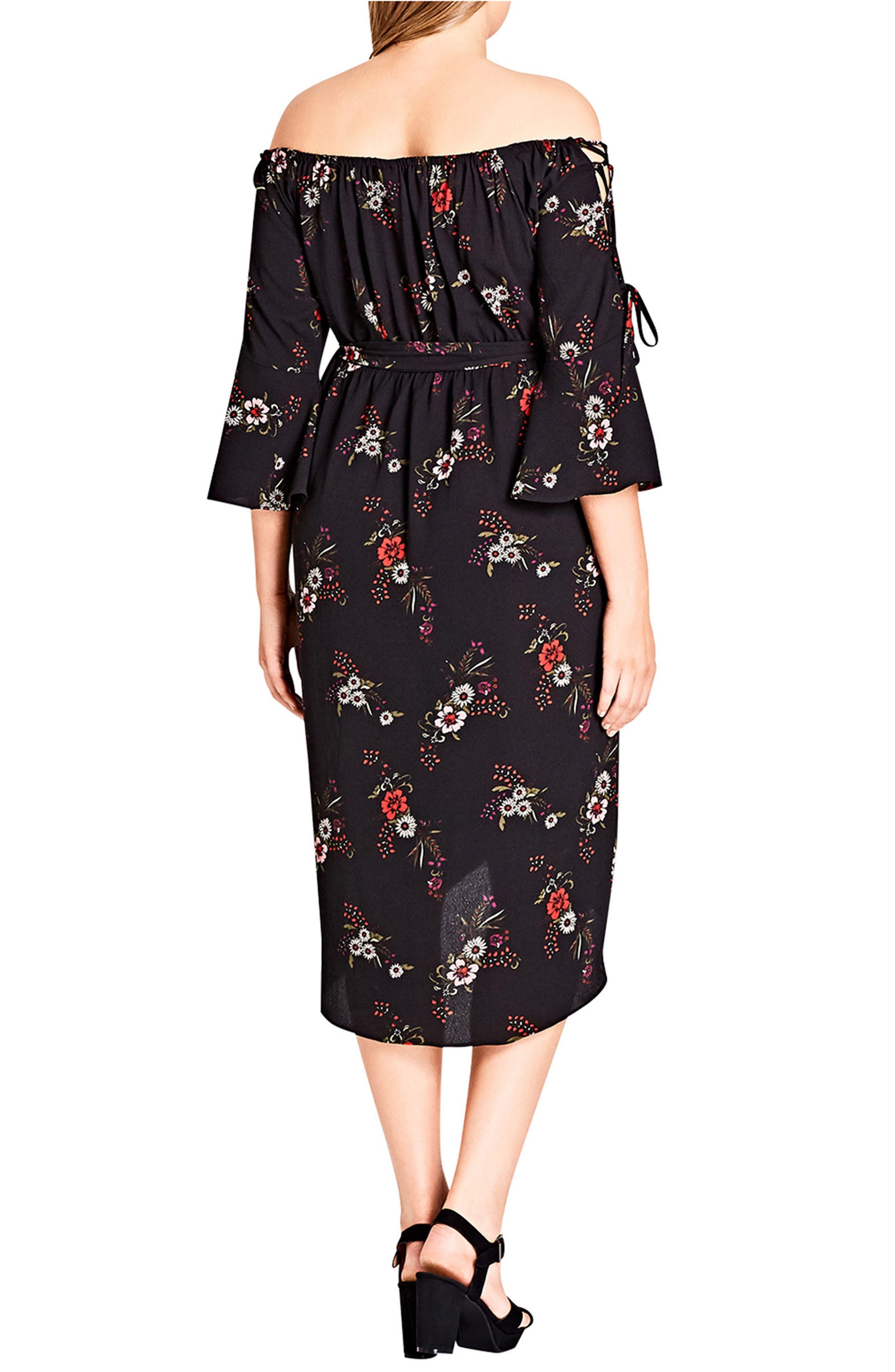 Off the Shoulder Midi Dress,                             Alternate thumbnail 2, color,                             Skye Floral