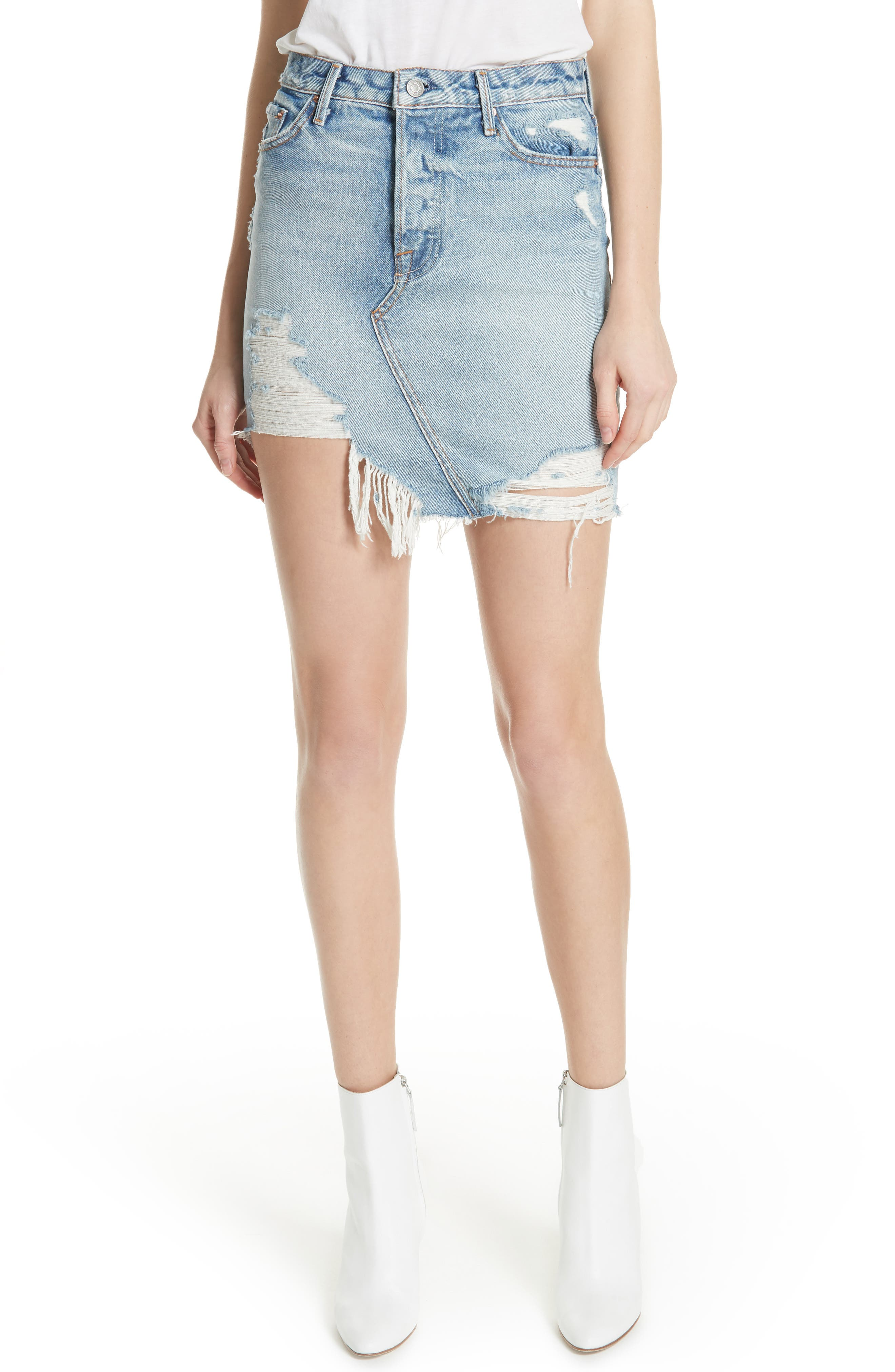 Rhoda Denim Skirt,                             Main thumbnail 1, color,                             Lava Bed