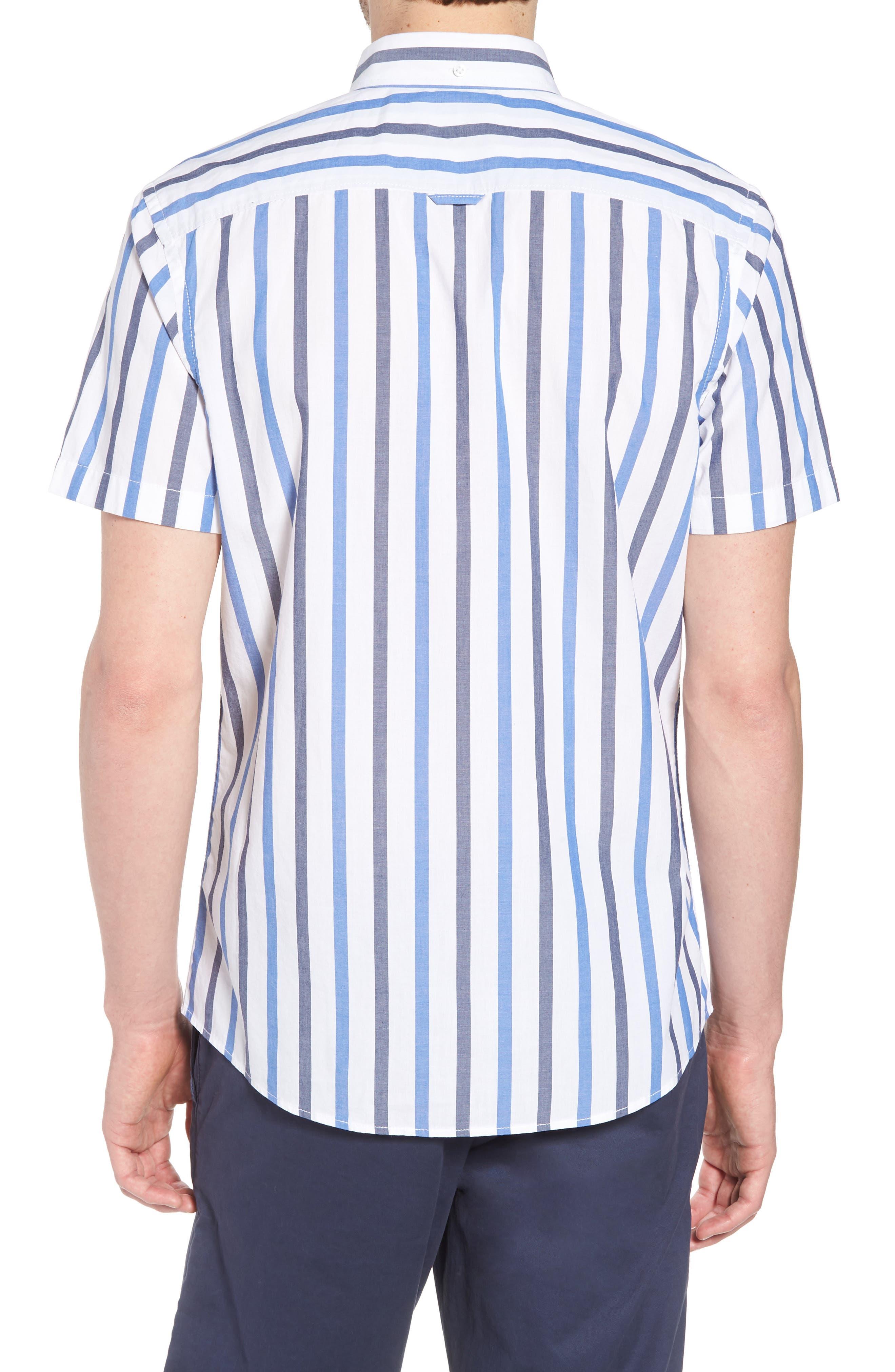 Trim Fit Stripe Stretch Sport Shirt,                             Alternate thumbnail 3, color,                             White Blue Stripe