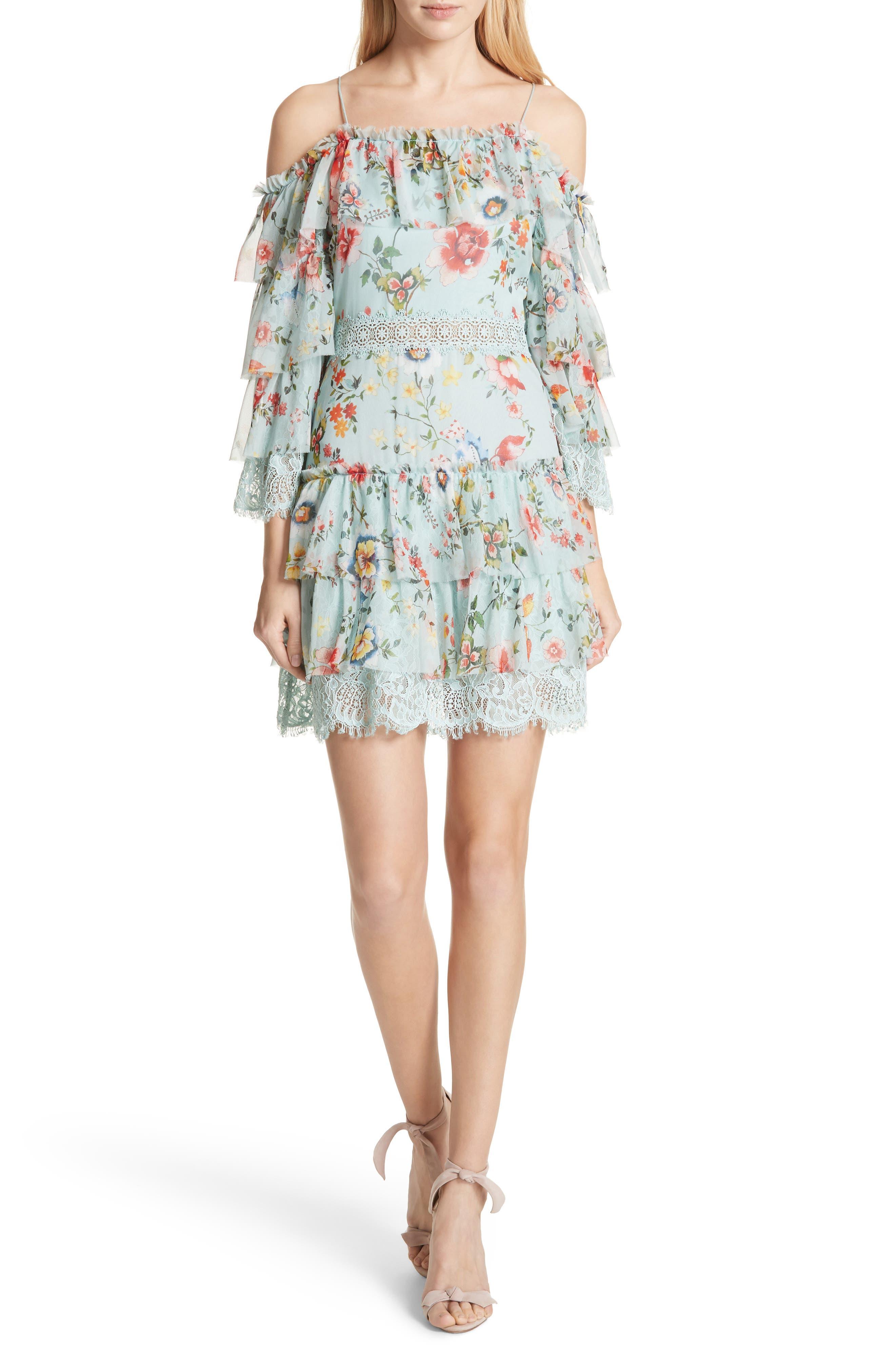 Santos Cold Shoulder Tiered Silk Dress,                             Main thumbnail 1, color,                             Floral Soiree-Dusty Aqua