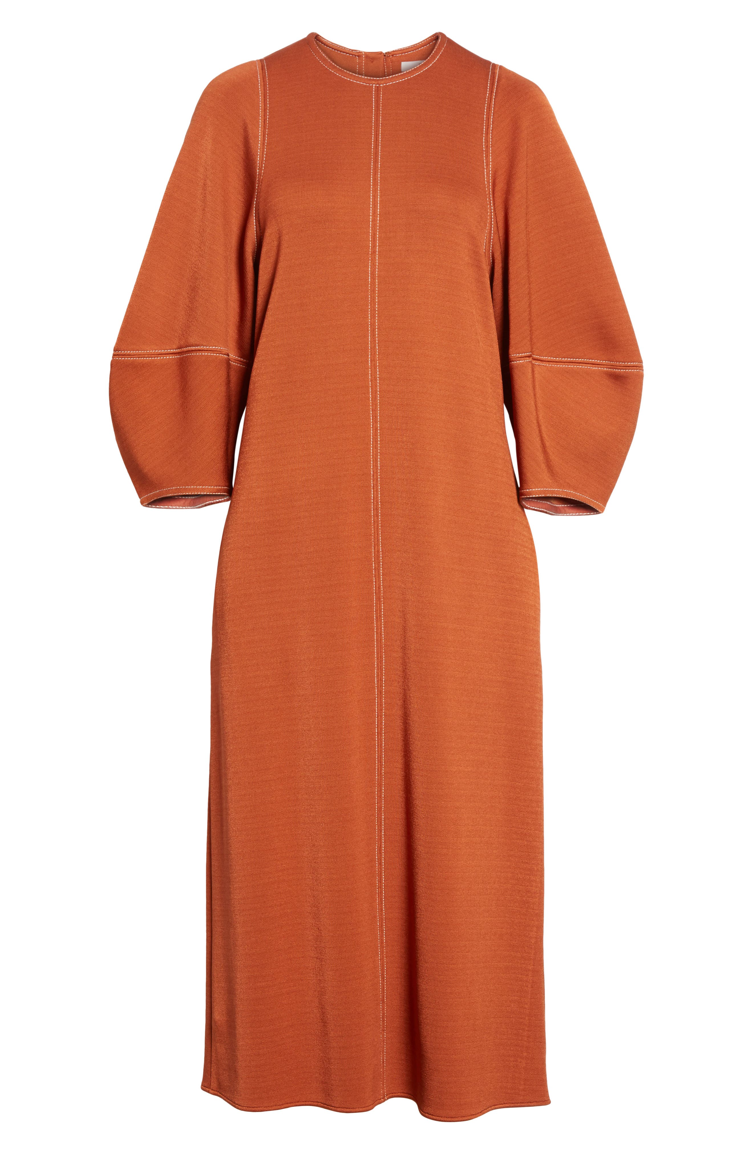 Balloon Sleeve Crepe Knit Midi Dress,                             Alternate thumbnail 6, color,                             Rust