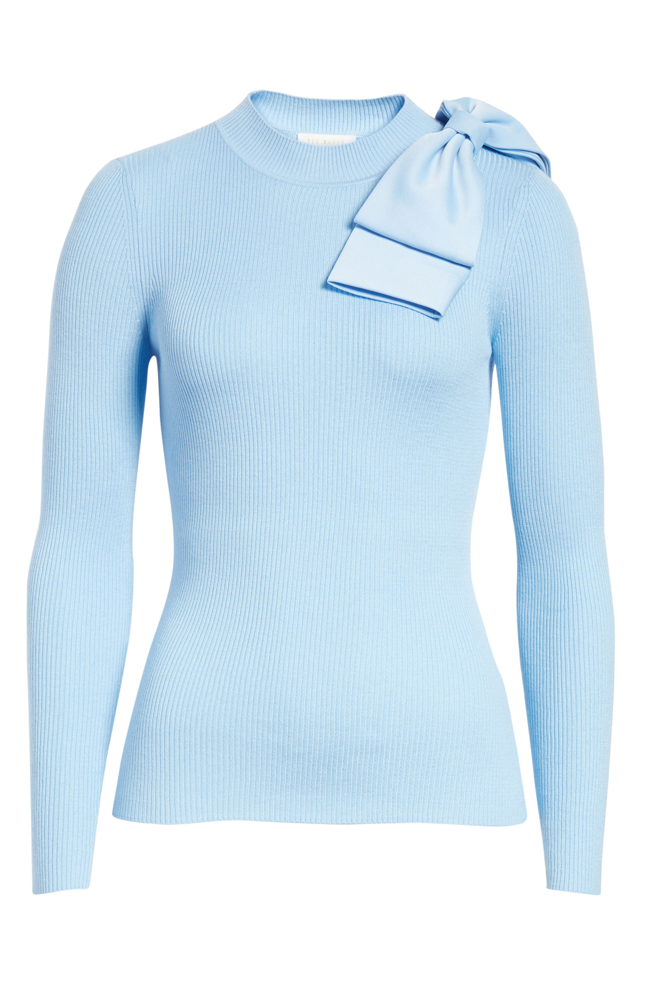 Bow Detail Ribbed Sweater,                             Alternate thumbnail 6, color,                             Pale Blue