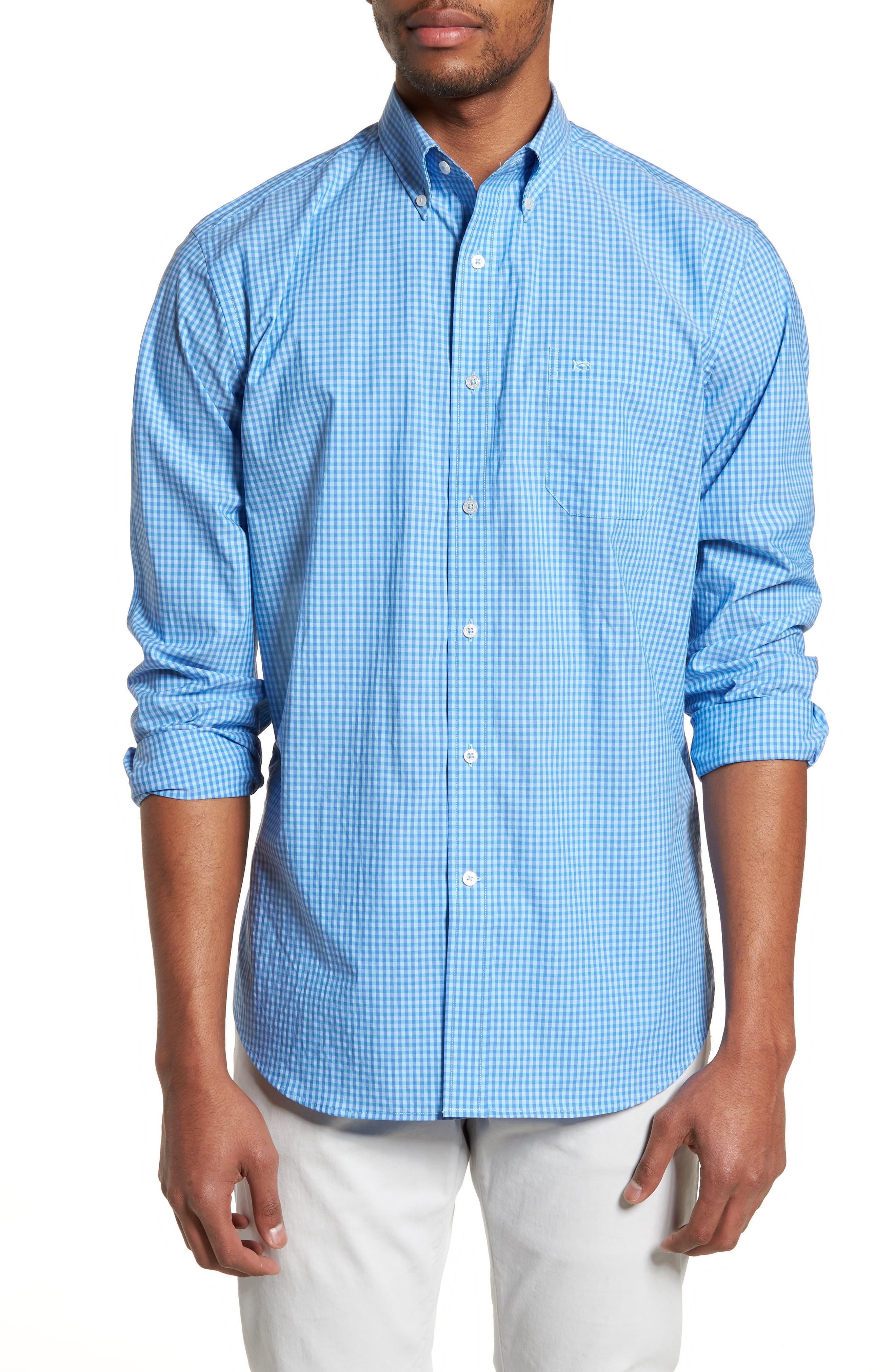 Camana Bay Regular Fit Check Stretch Sport Shirt,                         Main,                         color, Ocean Channel