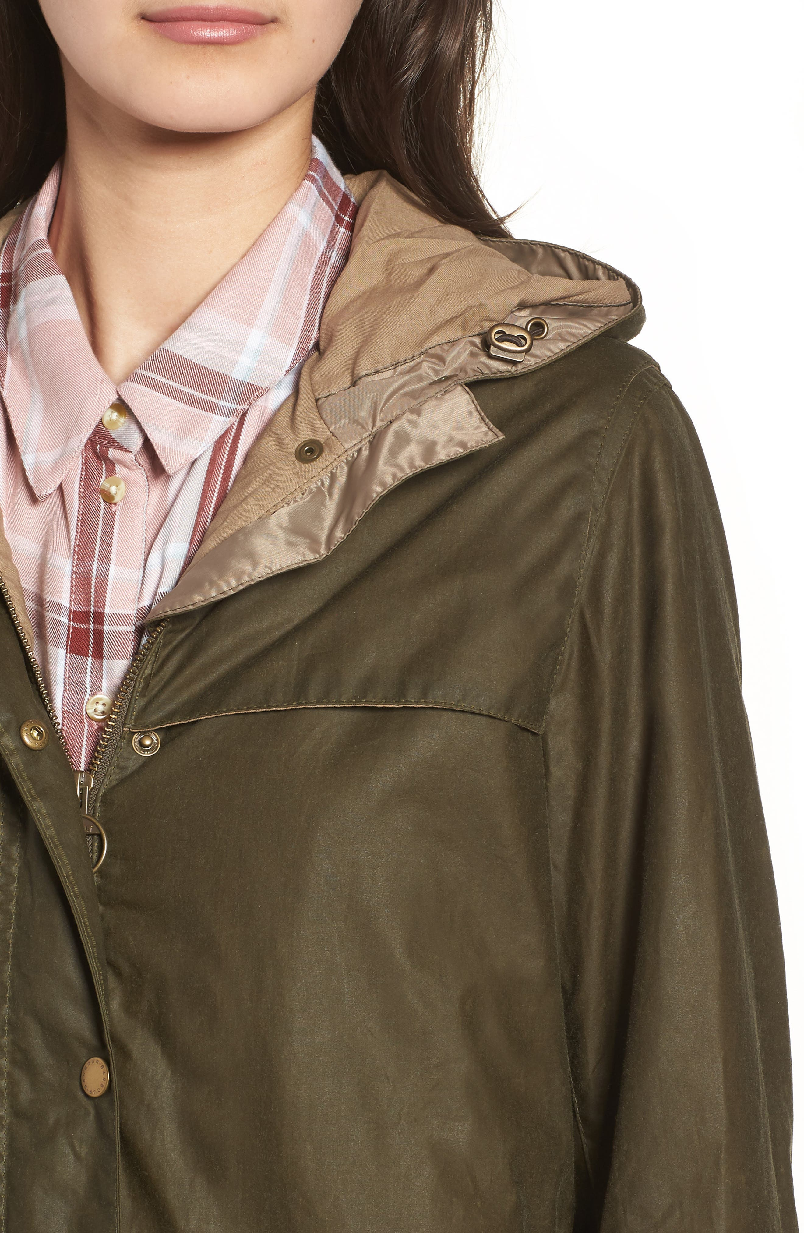 Durham Lightweight Wax Cotton Jacket,                             Alternate thumbnail 6, color,                             Archive Olive