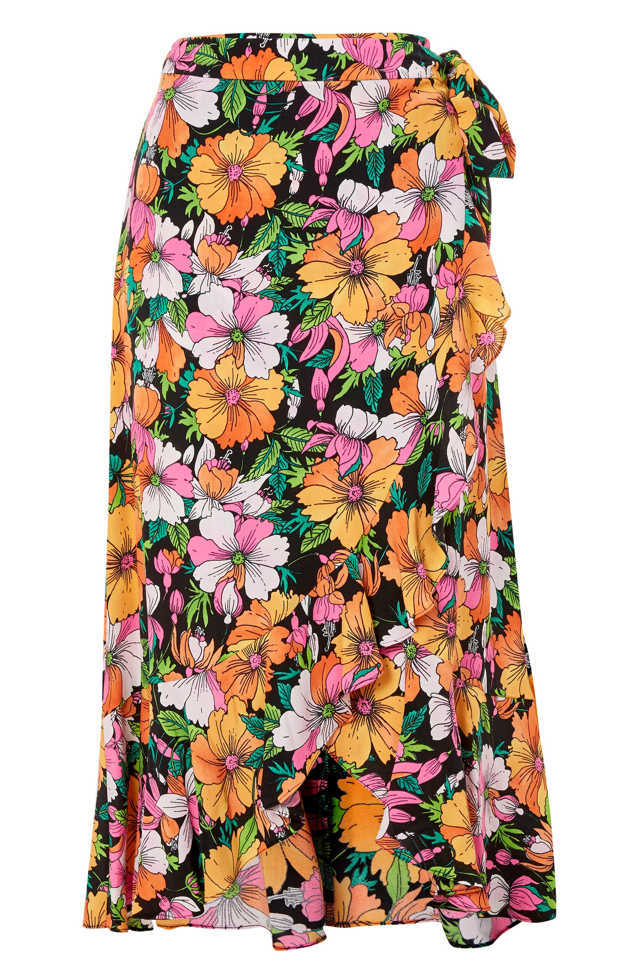 Heavy Petal Print Midi Skirt,                             Alternate thumbnail 3, color,                             Black Multi