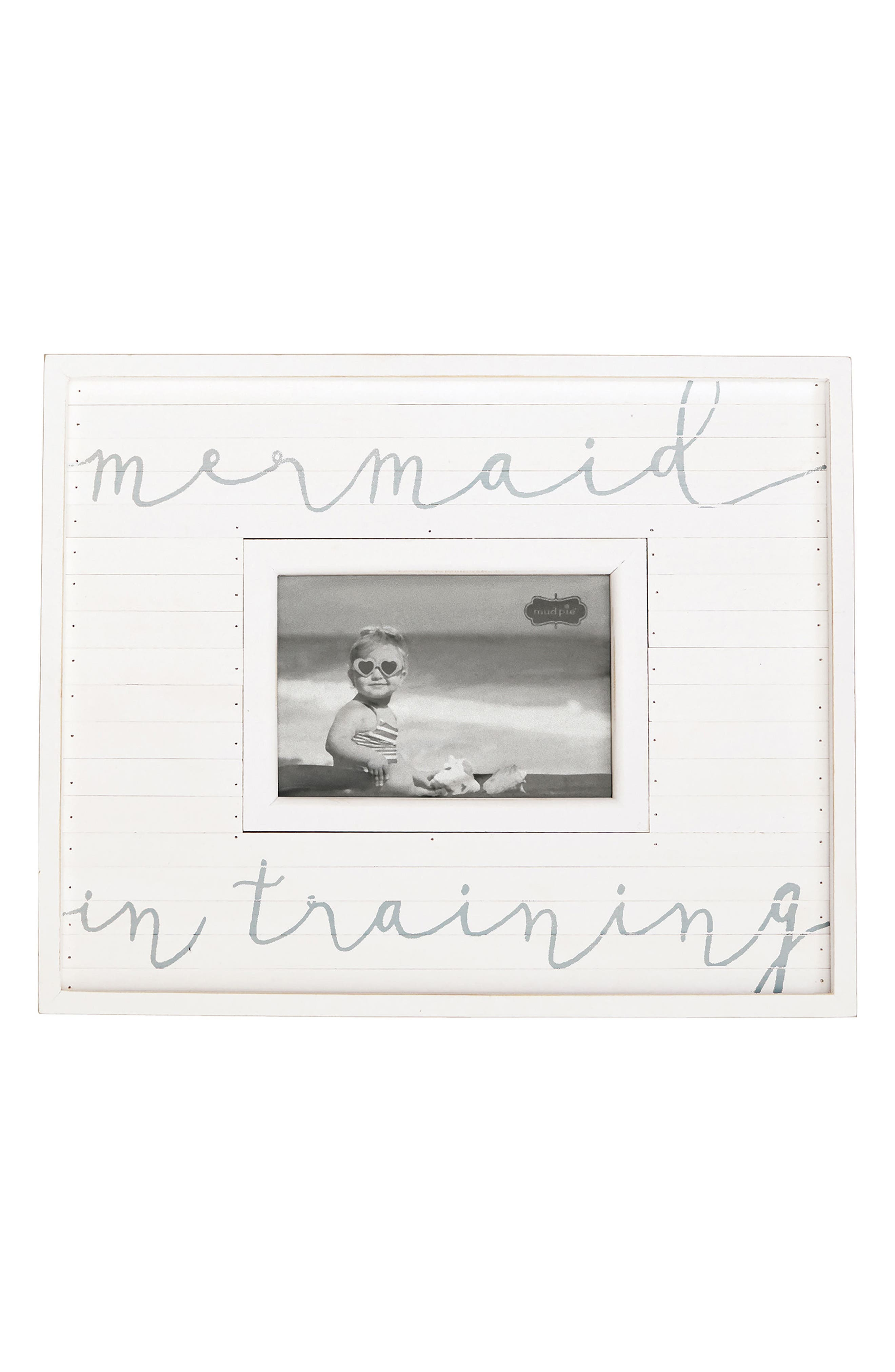 Mermaid In Training Picture Frame,                             Main thumbnail 1, color,                             White