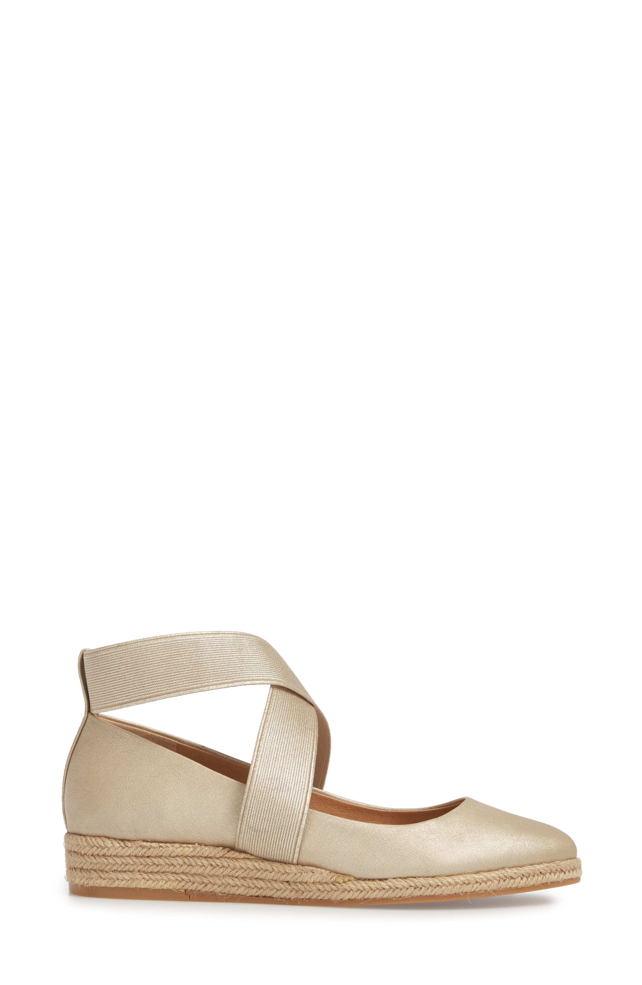 Bellah Espadrille Wedge,                             Alternate thumbnail 3, color,                             Soft Gold Leather