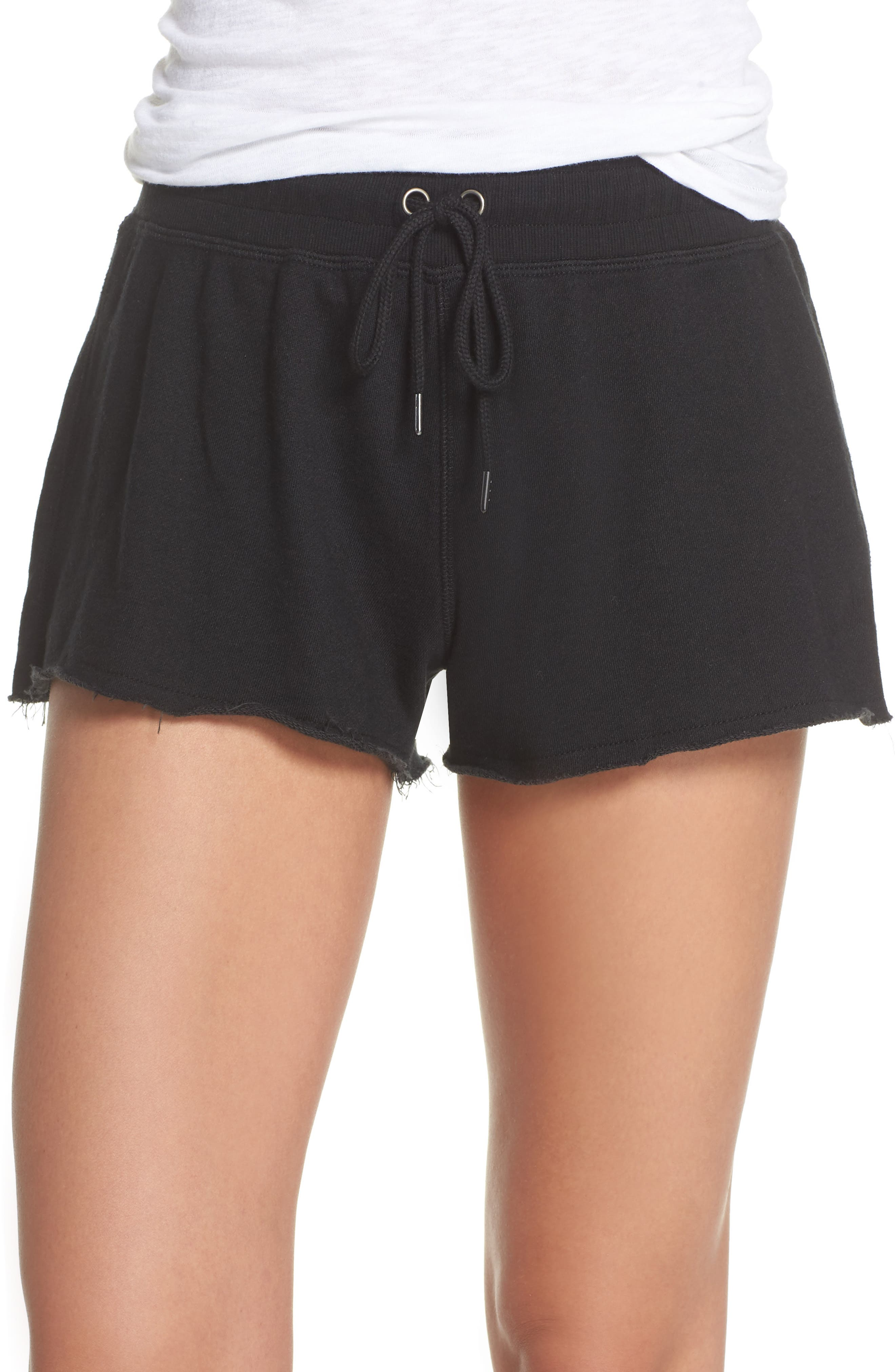 French Terry Sleep Shorts,                             Main thumbnail 1, color,                             Faded Black