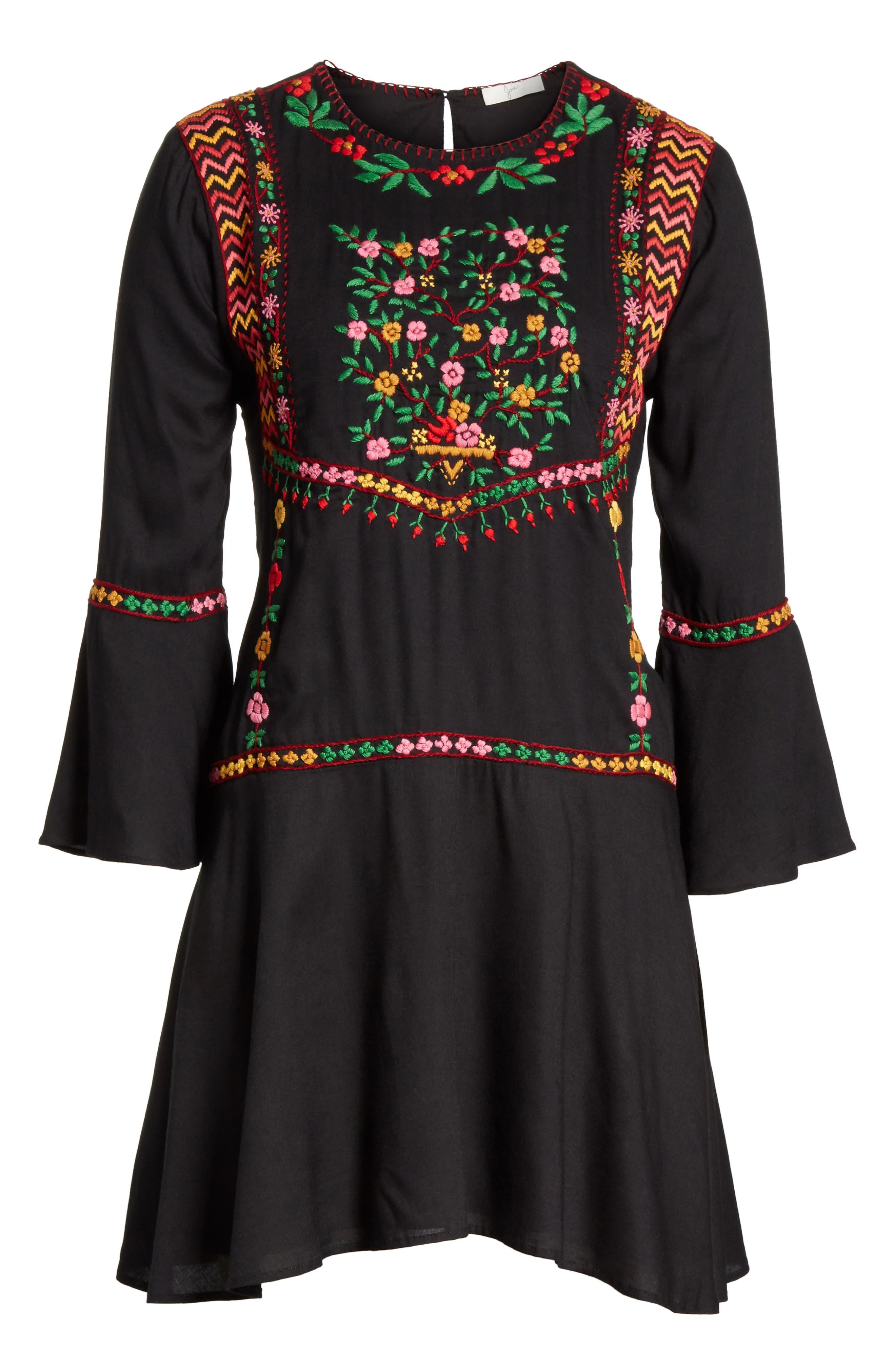 Gosinda Embroidered Dress,                             Alternate thumbnail 6, color,                             Caviar/ Multi